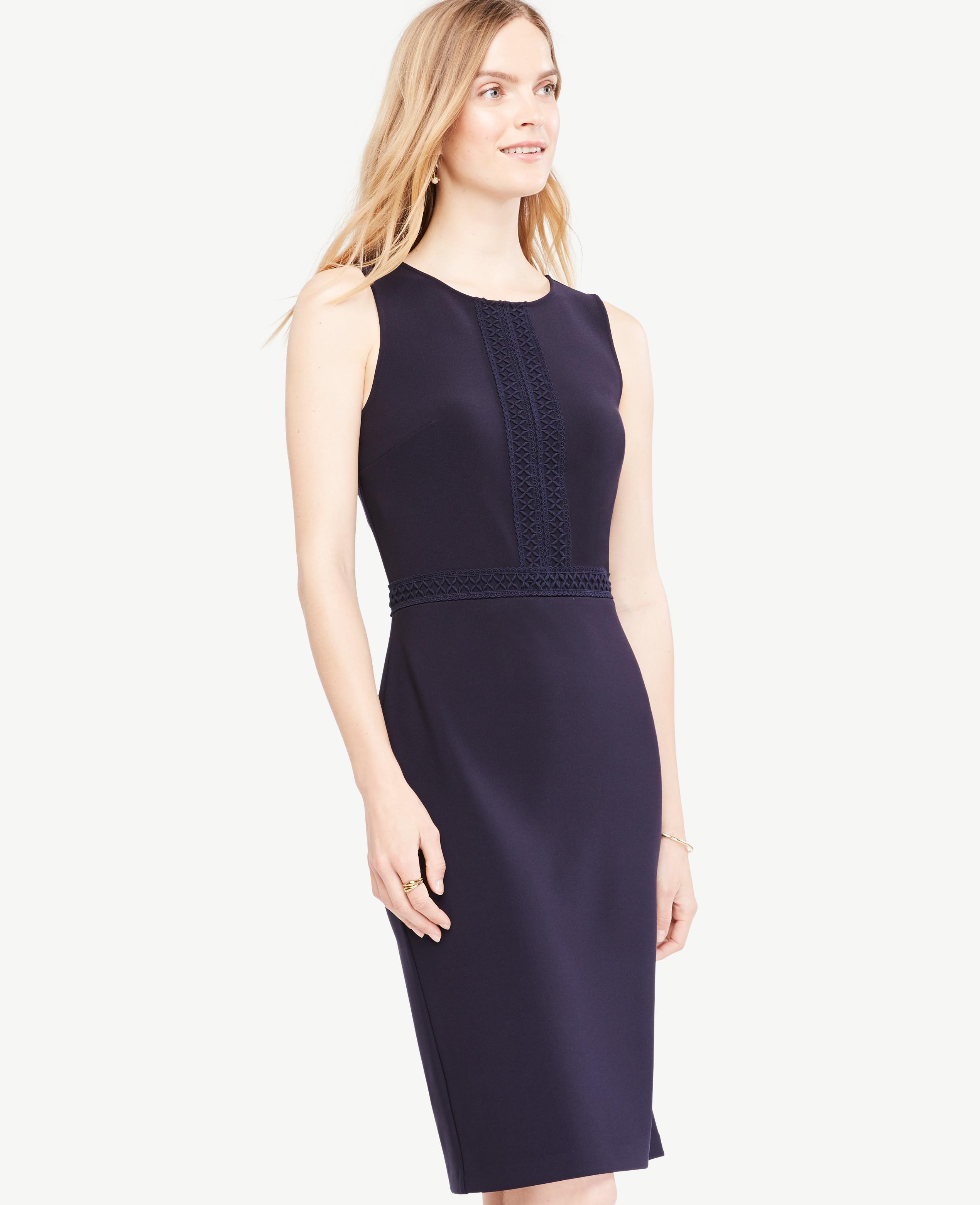 Lyst - Ann Taylor Lace Trim Sheath Dress in Blue