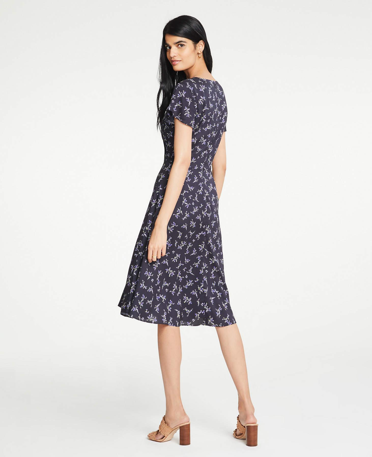 715e7257ec65 Ann Taylor Petite Floral Wrap Flare Dress in Blue - Lyst