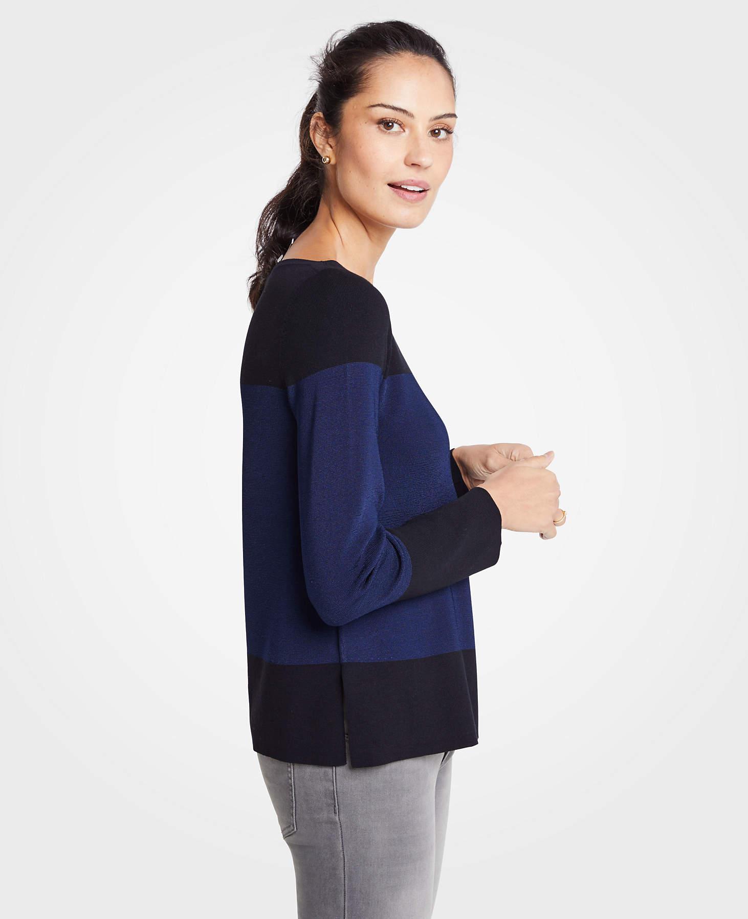 0bbfa2ed84 Ann Taylor. Women s Colorblock Boatneck Sweater