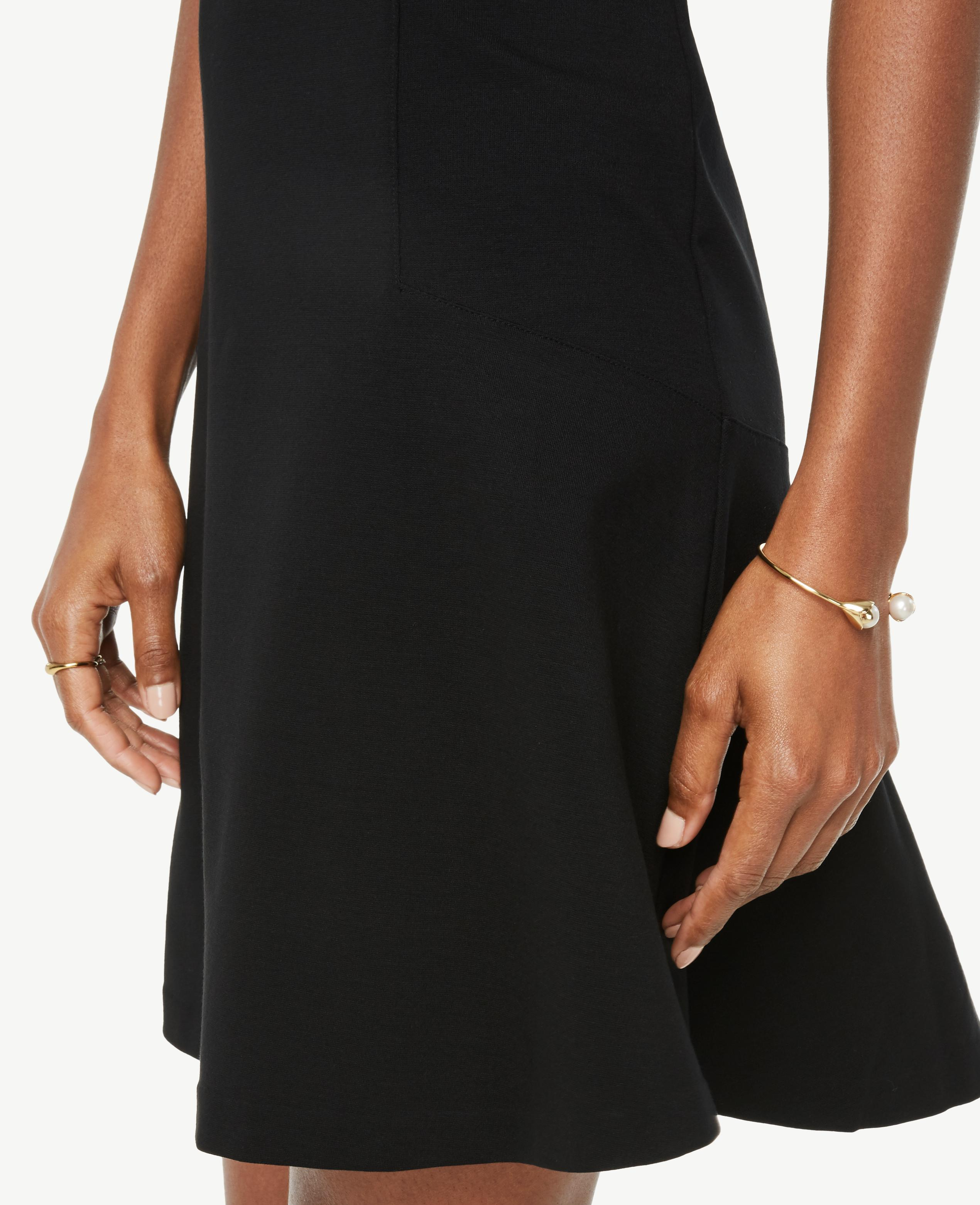 Lyst - Ann Taylor Tall Wide V-neck Ponte Flare Dress in Black 37480477a
