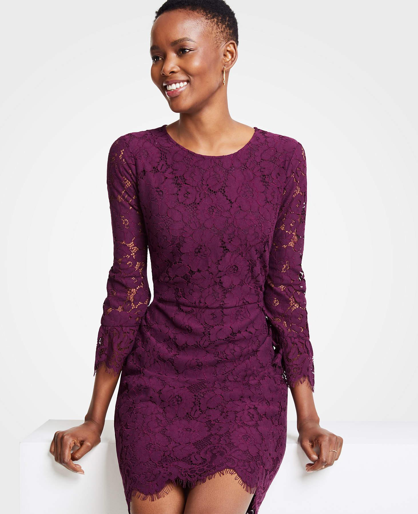 Ann Taylor Petite Lace Fluted Sleeve Flare Dress In Purple