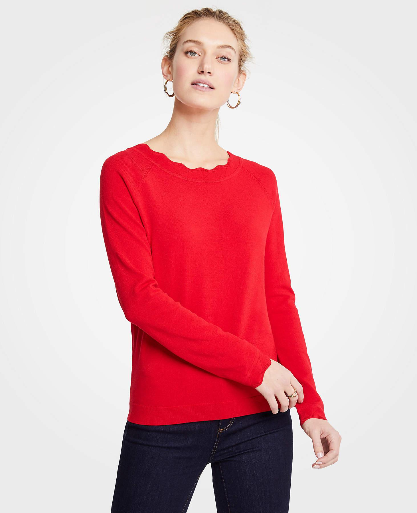 f2b80000cd Lyst - Ann Taylor Petite Scalloped Sweater in Purple