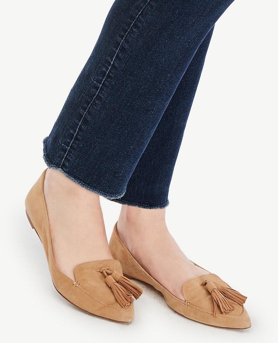 Ann Taylor Denim Frayed Crop Jeans in Blue