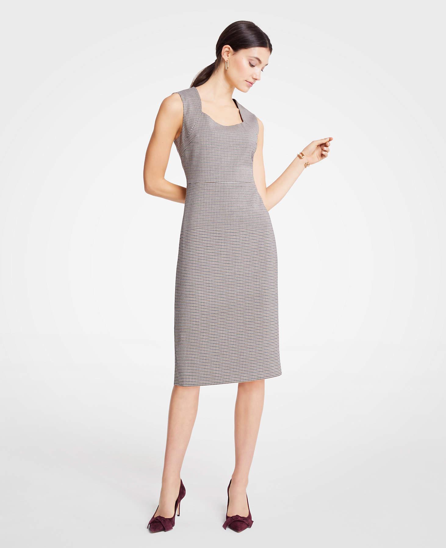 acb6f0fa355 Lyst - Ann Taylor Houndstooth Square Neck Sheath Dress
