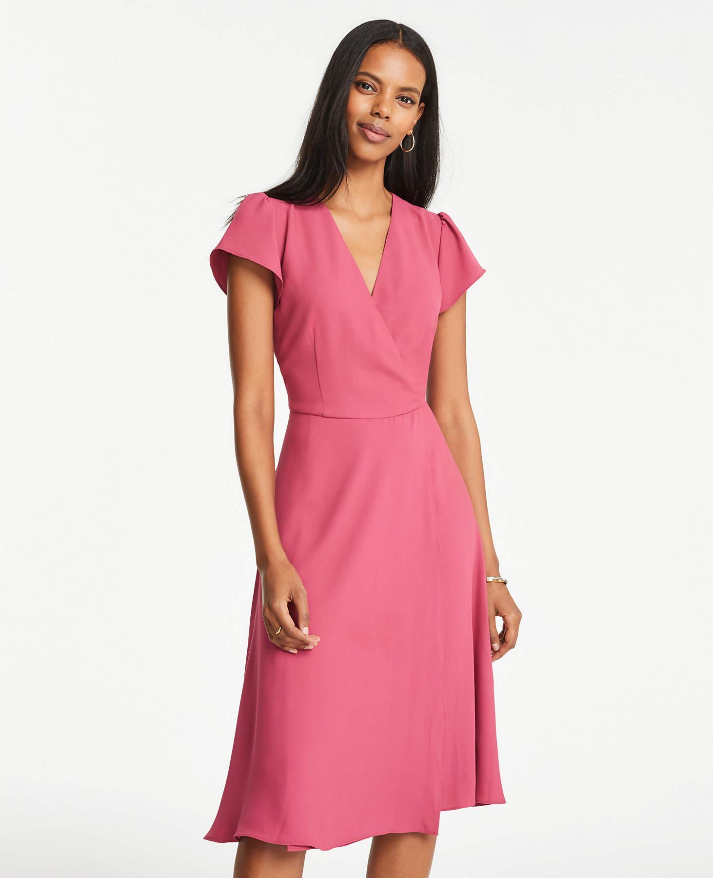 1965a98b5a4 Ann Taylor Petite Flutter Sleeve Wrap Flare Dress in Pink - Lyst