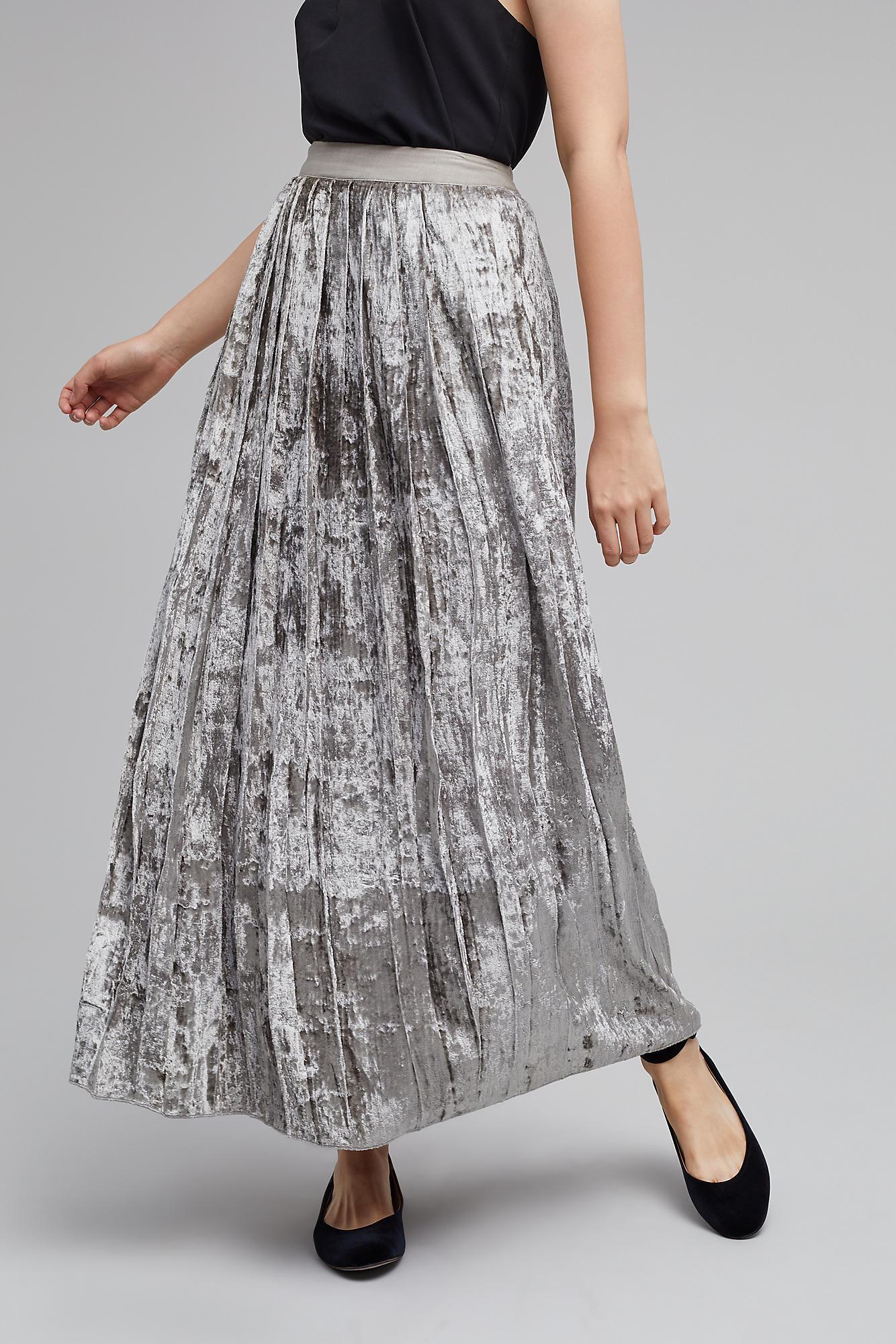 Women S Clothing Ladies Metallic Shiny Pleated Skirt Velvet A Line Shimmer Accordion Maxi Skirt Puebla Tecnm Mx