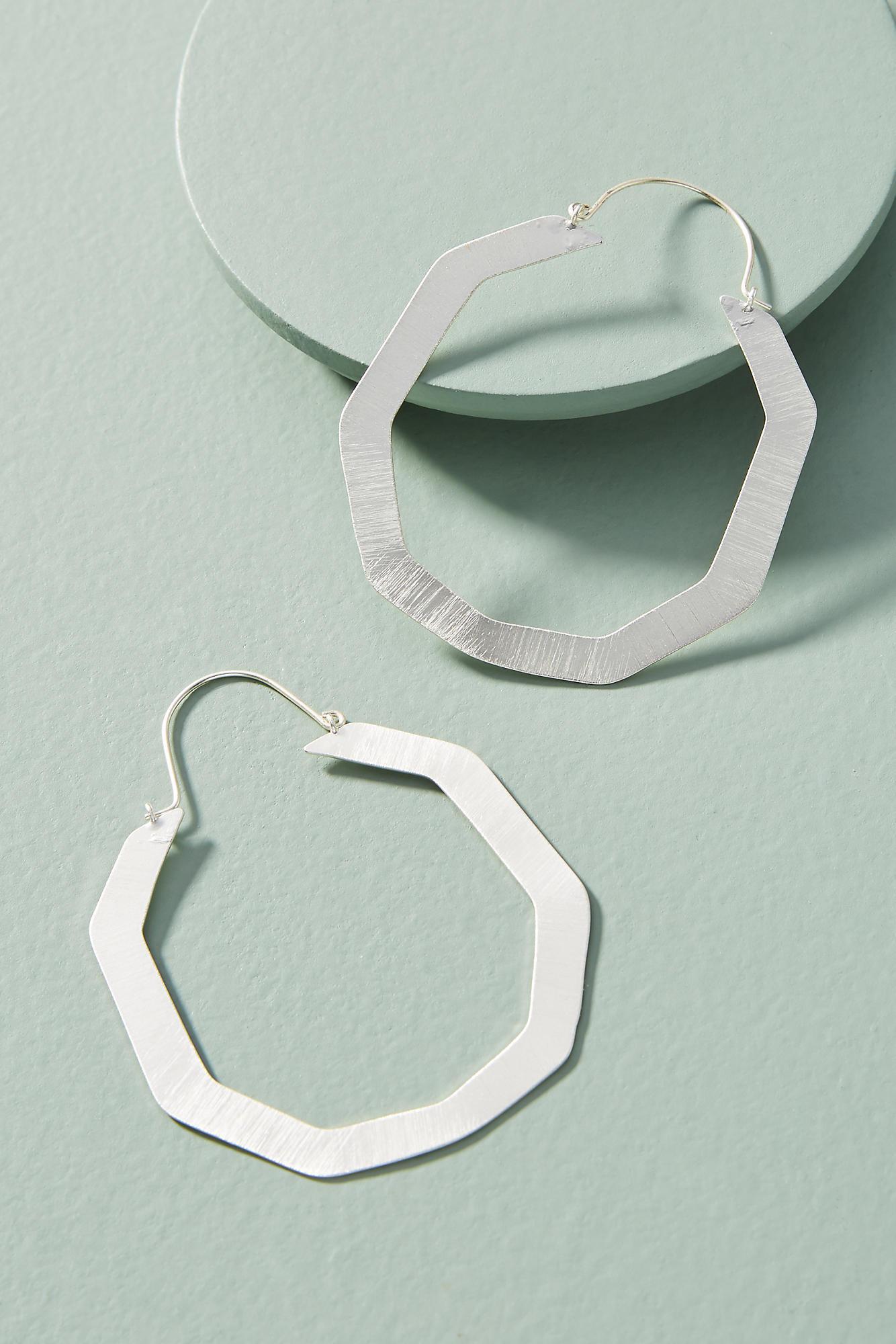 Anthropologie Hexagon Hoop Earrings 1SZeuT3UBU