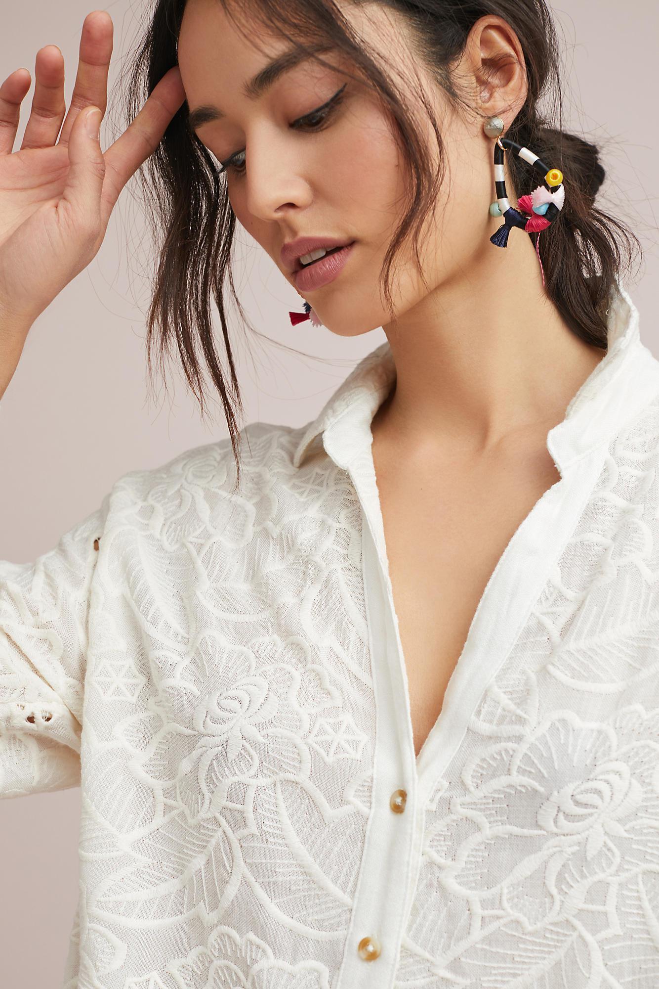 eb33dc0e38 Akemi + Kin Lilibeth Open Embroidery Henley Tunic in White - Lyst