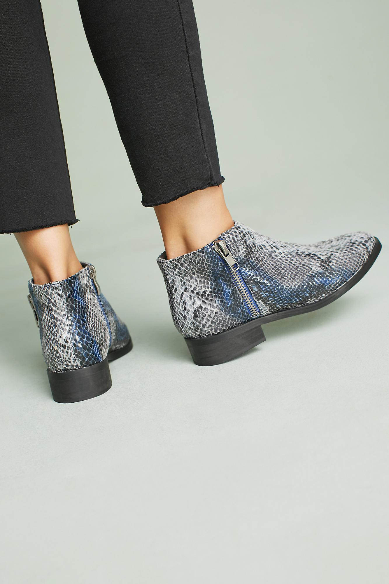 Anthropologie Leather Vanessa Wu Snakeskin Ankle Boots in Blue