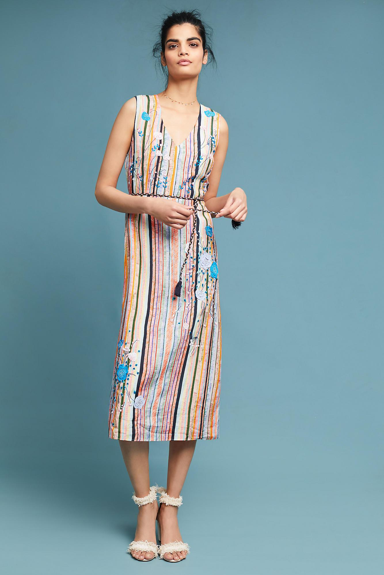 Lyst - Anthropologie Floral Embroidered Striped Midi Dress in Blue