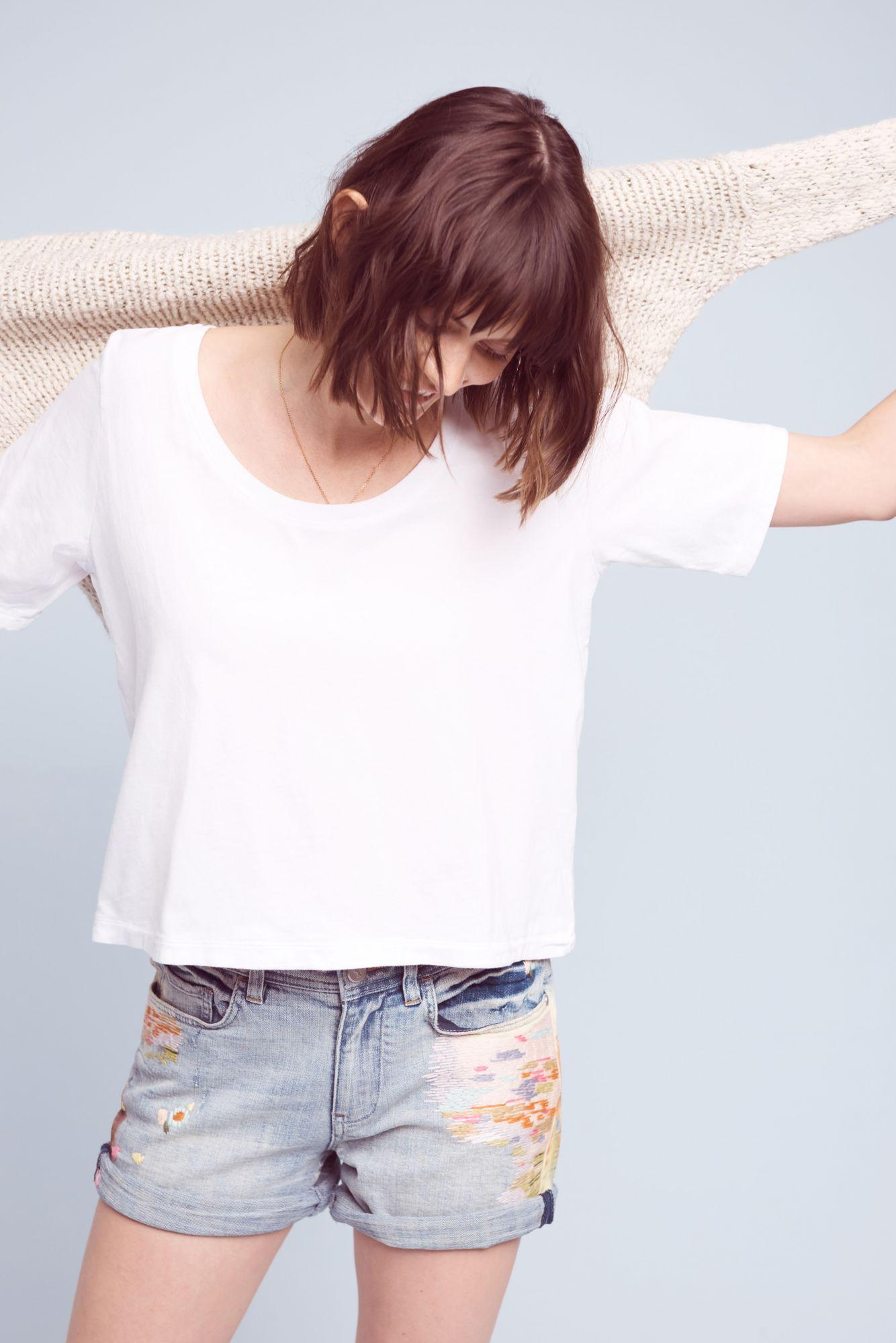 Three Dots Scooped Jersey Tee In White Lyst