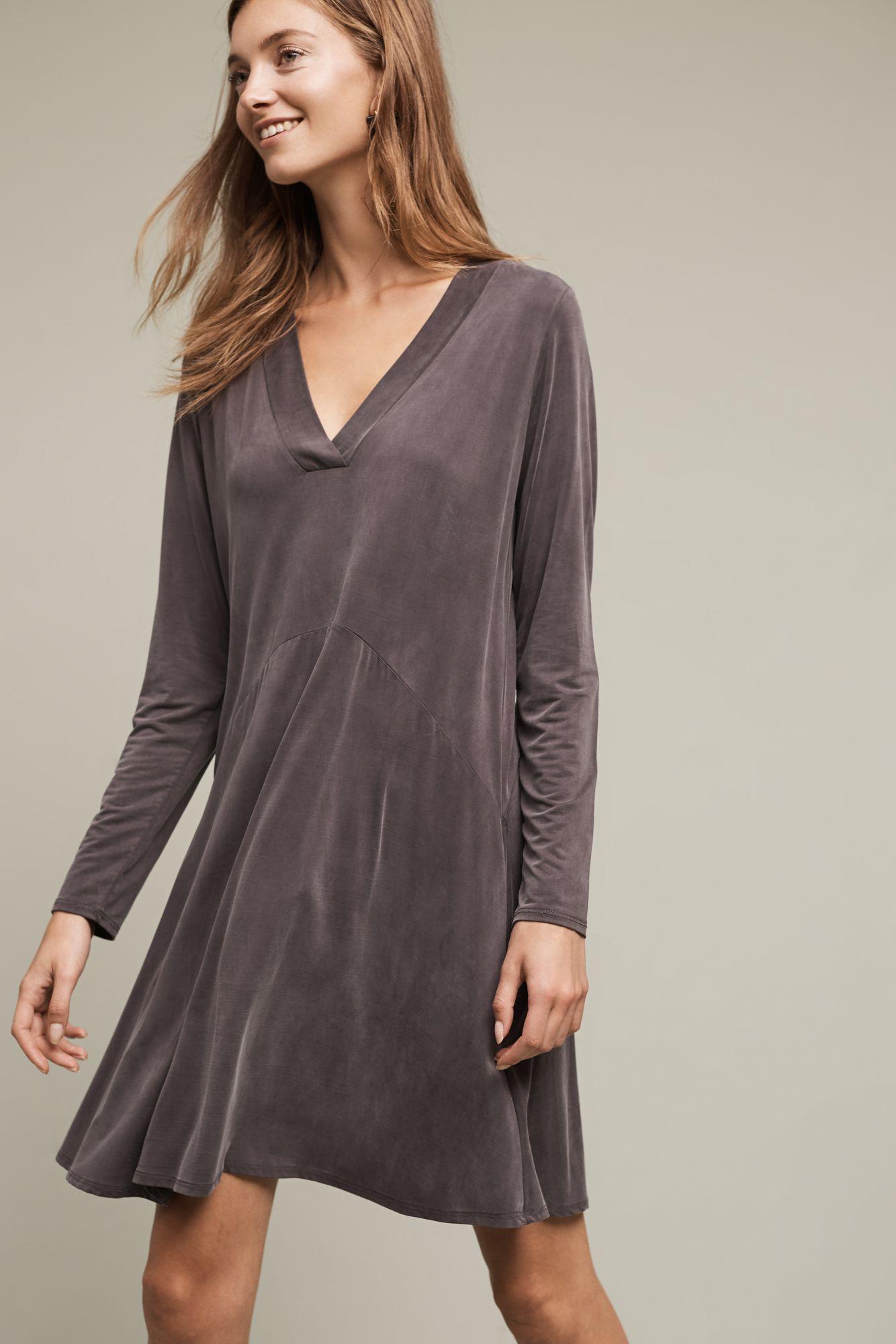 Lyst Dolan Left Coast Toute V Neck Dress In Gray