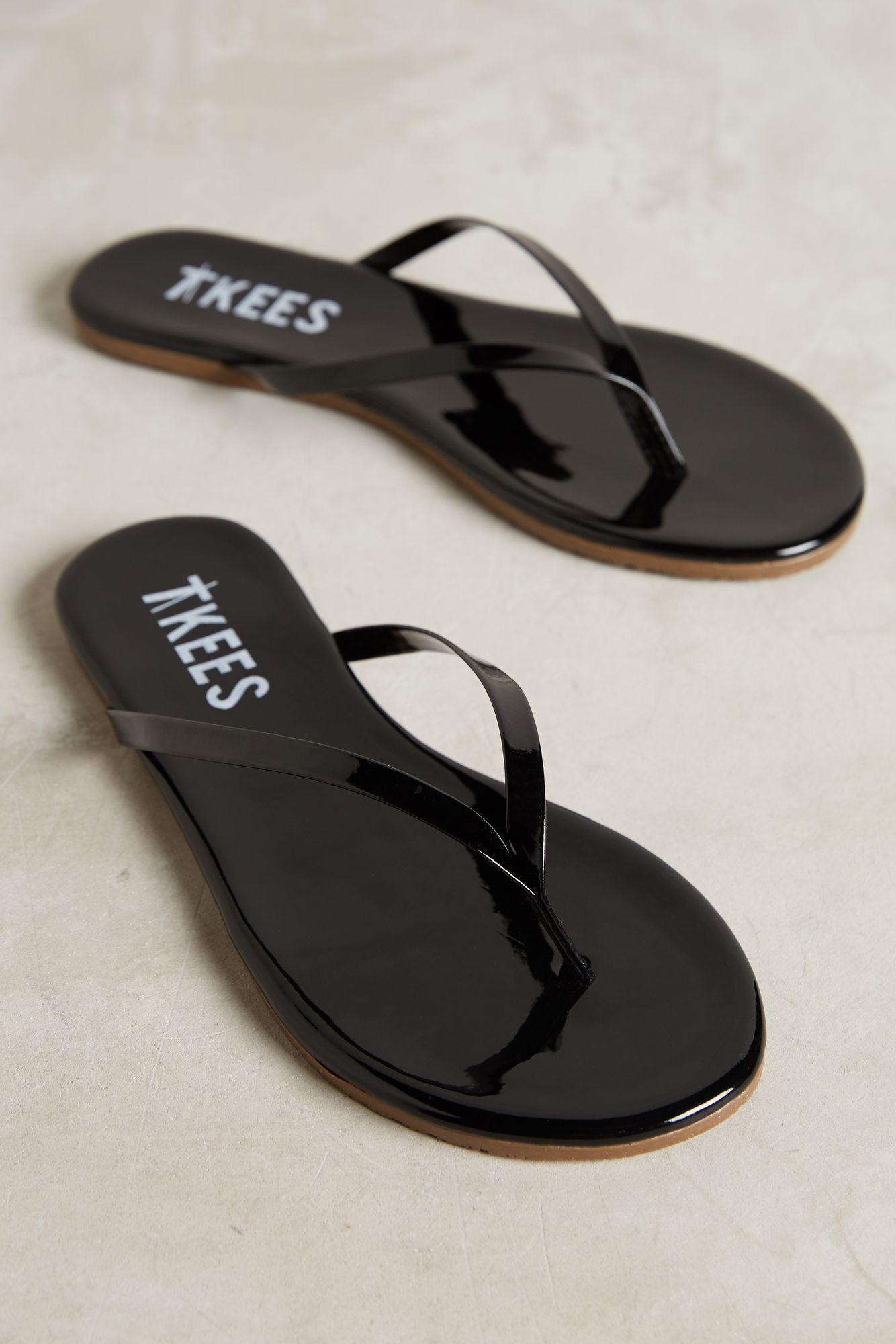 Tkees Glosses Leather Sandals In Black Lyst