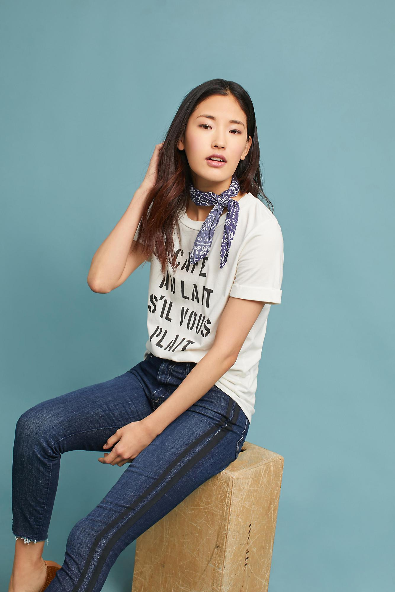 Lyst sol angeles cuffed graphic tee in white for T shirt printing downtown los angeles