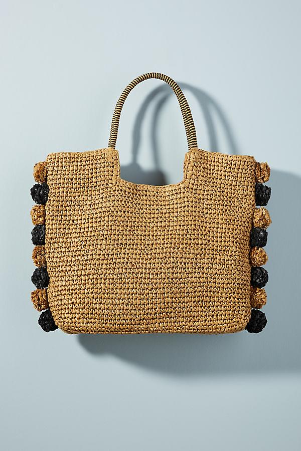 Anthropologie Leather Perfectly Pommed Straw Tote Bag in Beige (Natural)