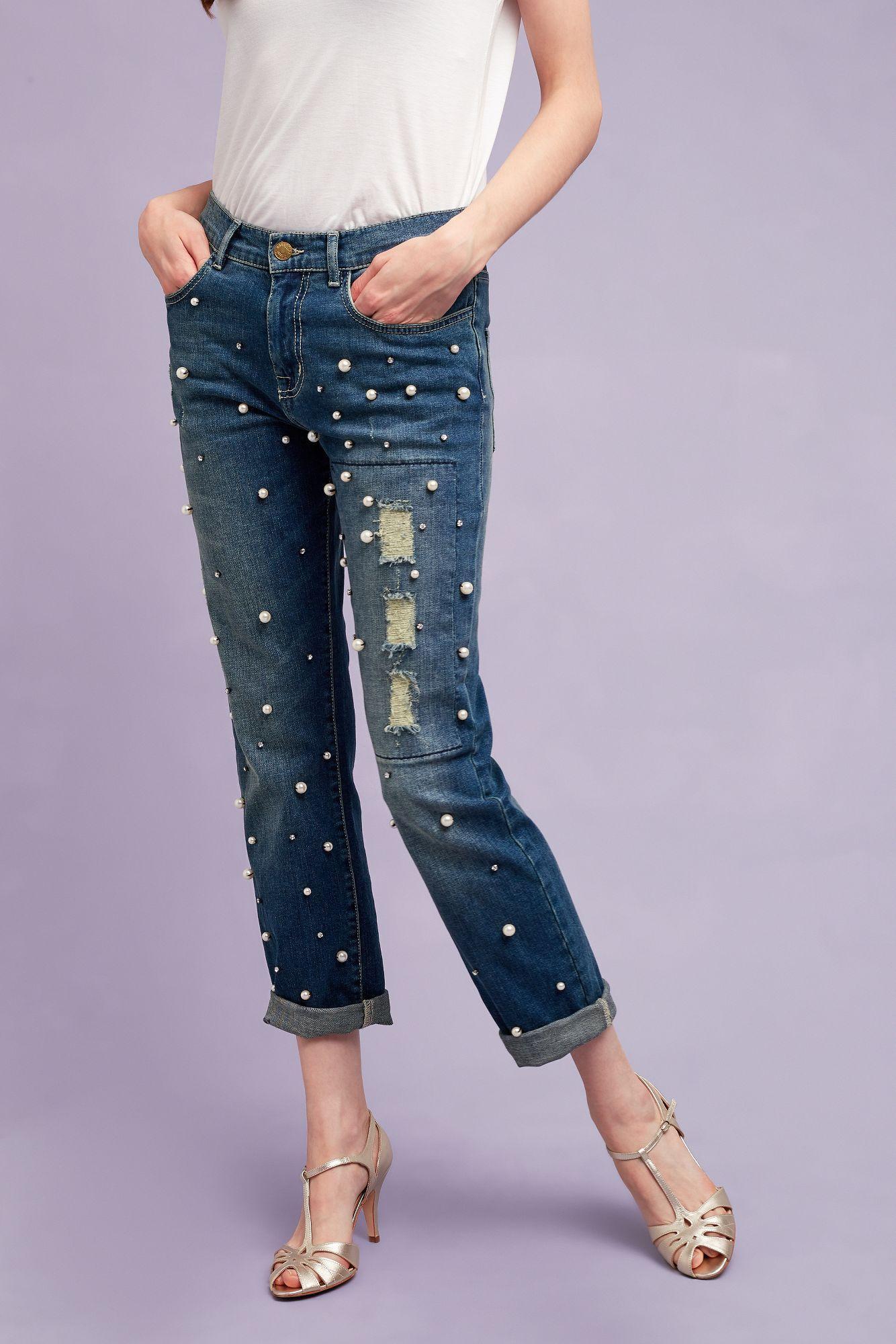 Essentiel Antwerp Denim Pearl-embellished Boyfriend Jeans in Blue