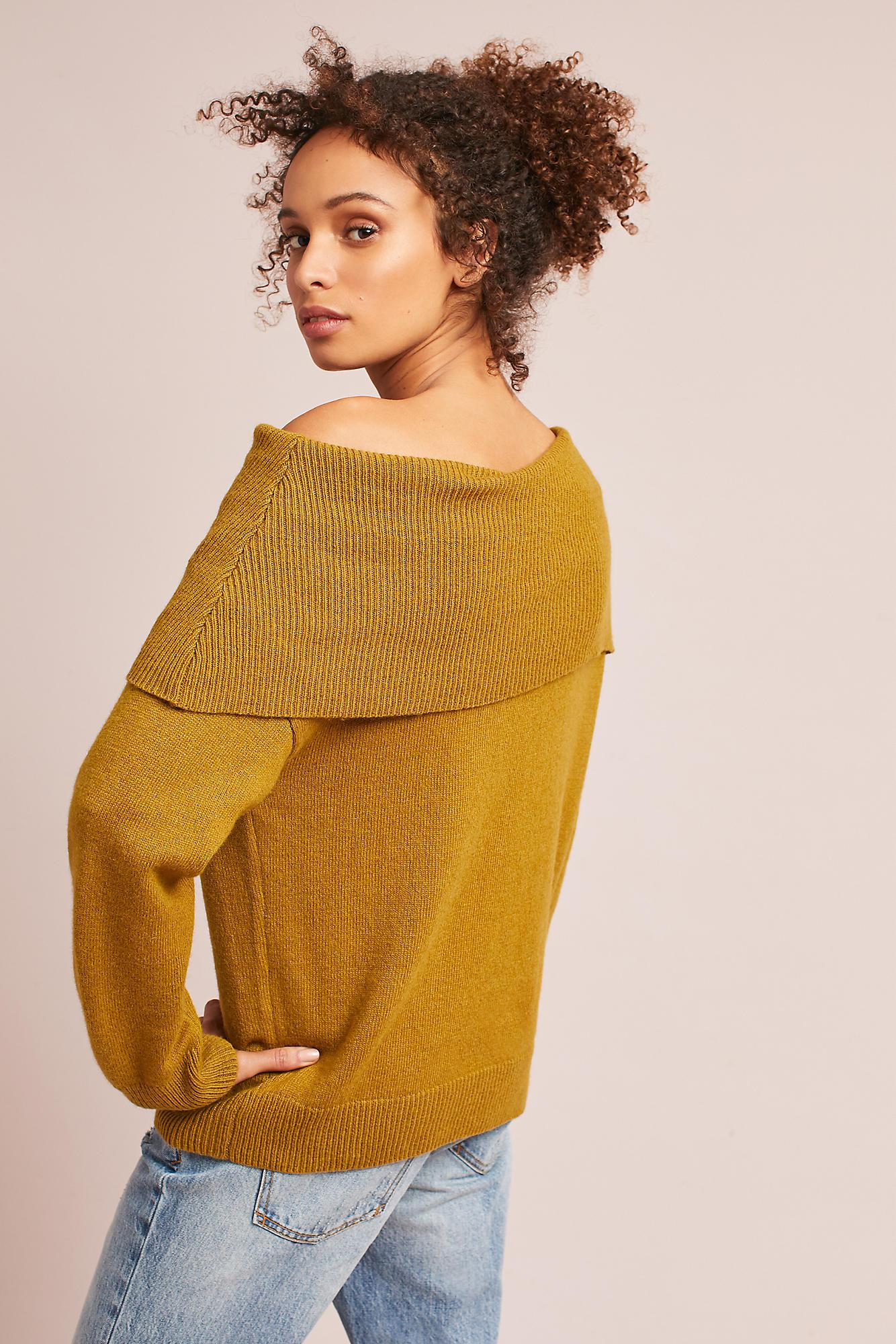 Moon river Miles Off-the-shoulder Sweater in Yellow | Lyst