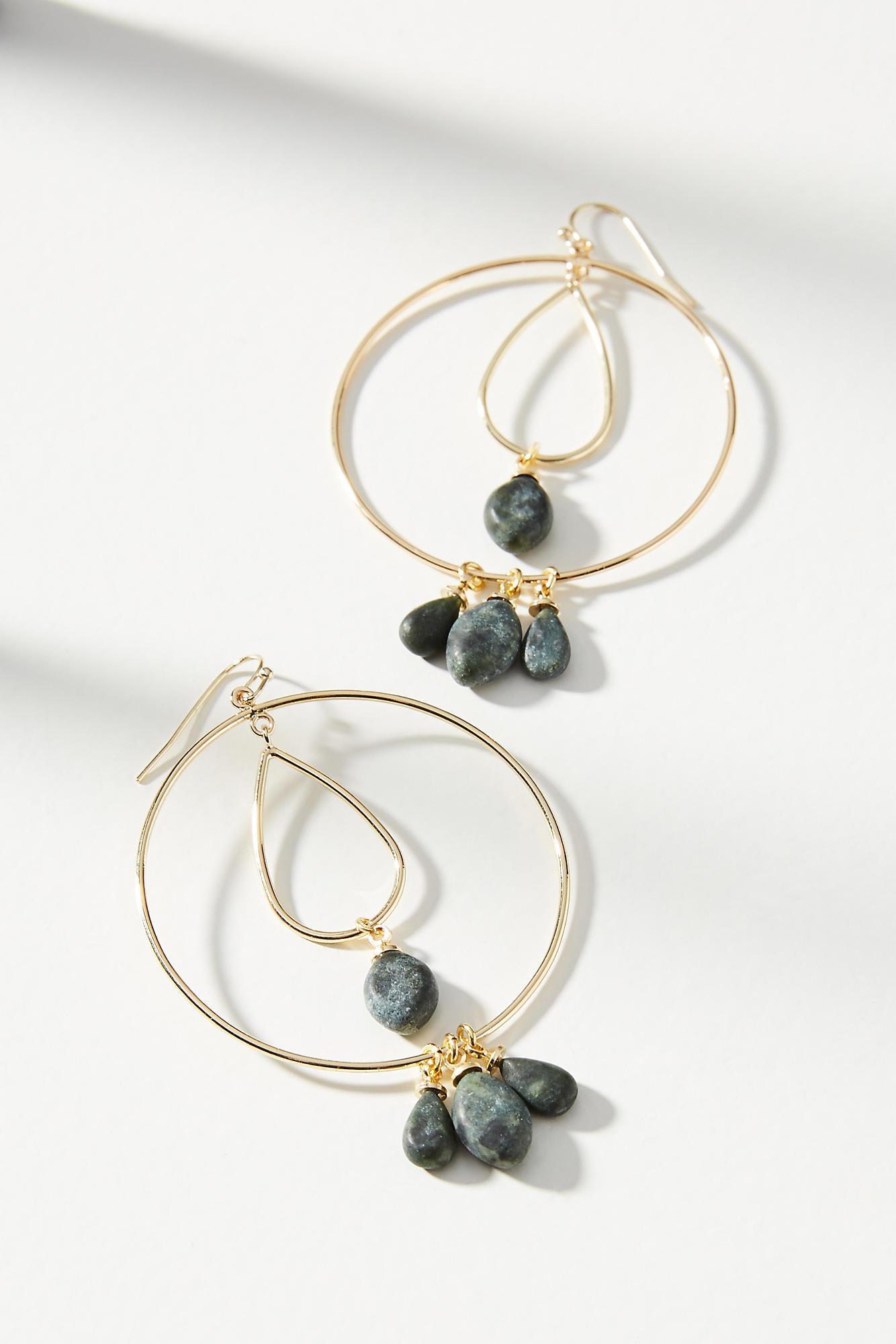 Anthropologie Tumbled Stone Double Hoop Earrings yuWmcKCP