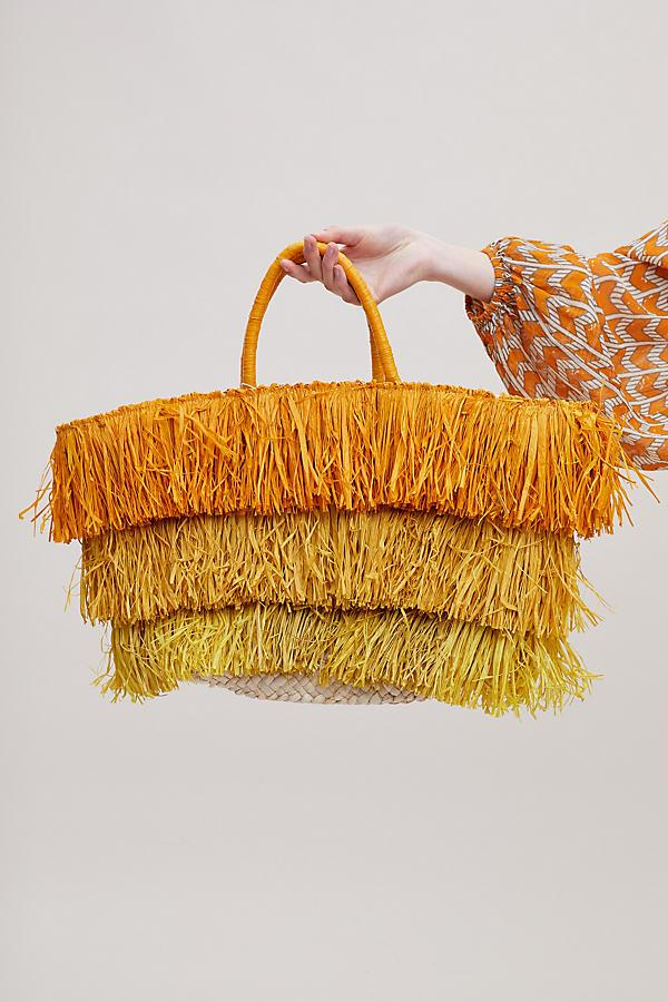 Anthropologie Fringed Straw Tote Bag in Yellow