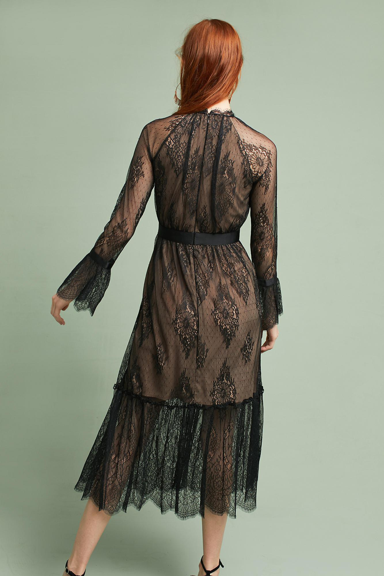Lyst - Shoshanna Victorian Lace Dress in Black