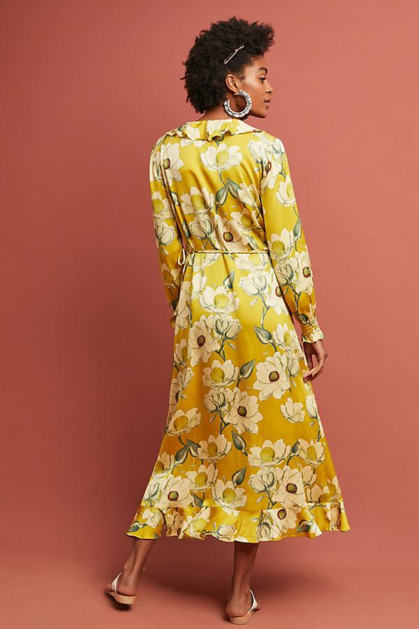 4c171f78ee11 Second Female Magnolia Printed-midi Wrap Dress in Yellow - Lyst