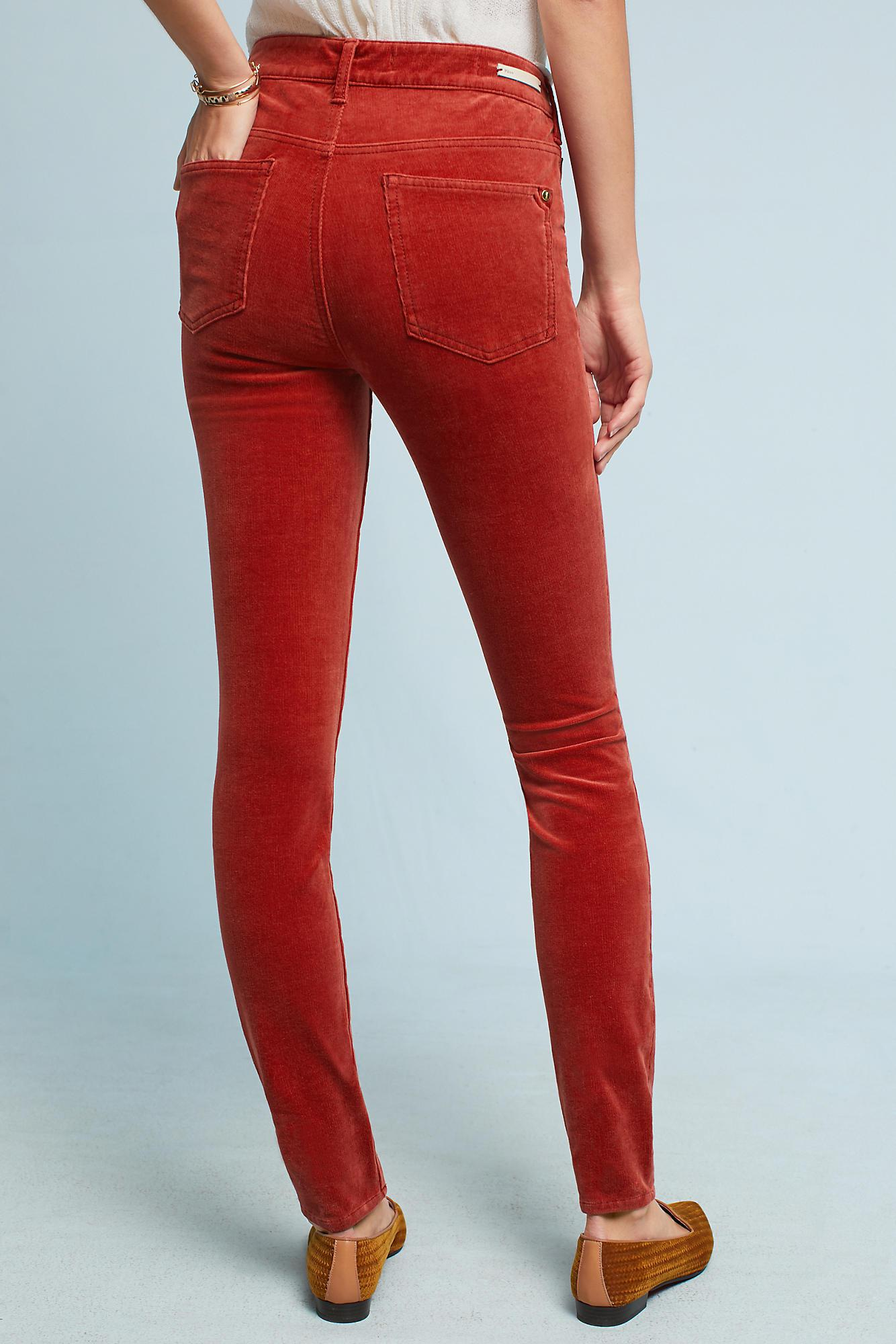 Anthropologie Pilcro Corduroy High-rise Skinny Jeans in Red