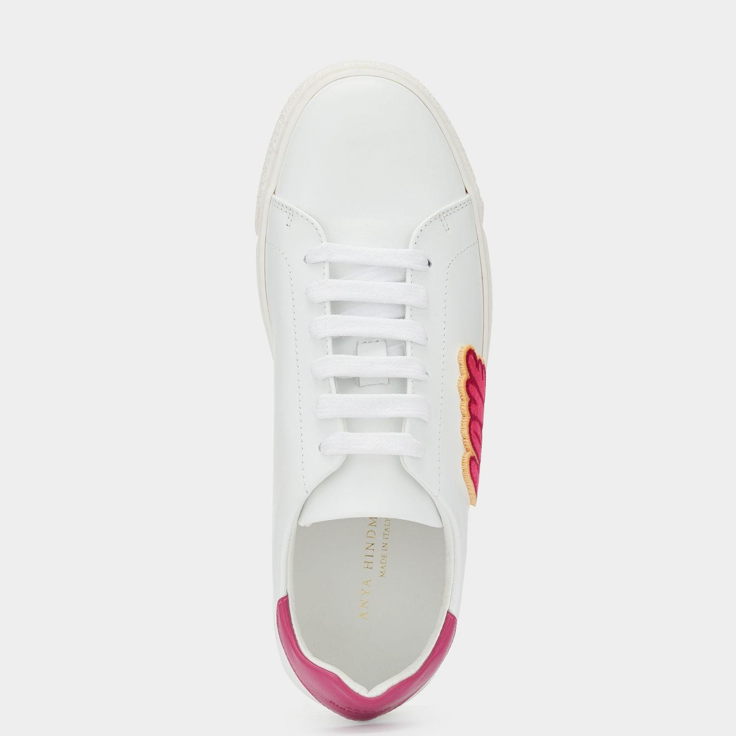 Anya Hindmarch Leather Love & Kisses Sneakers in White