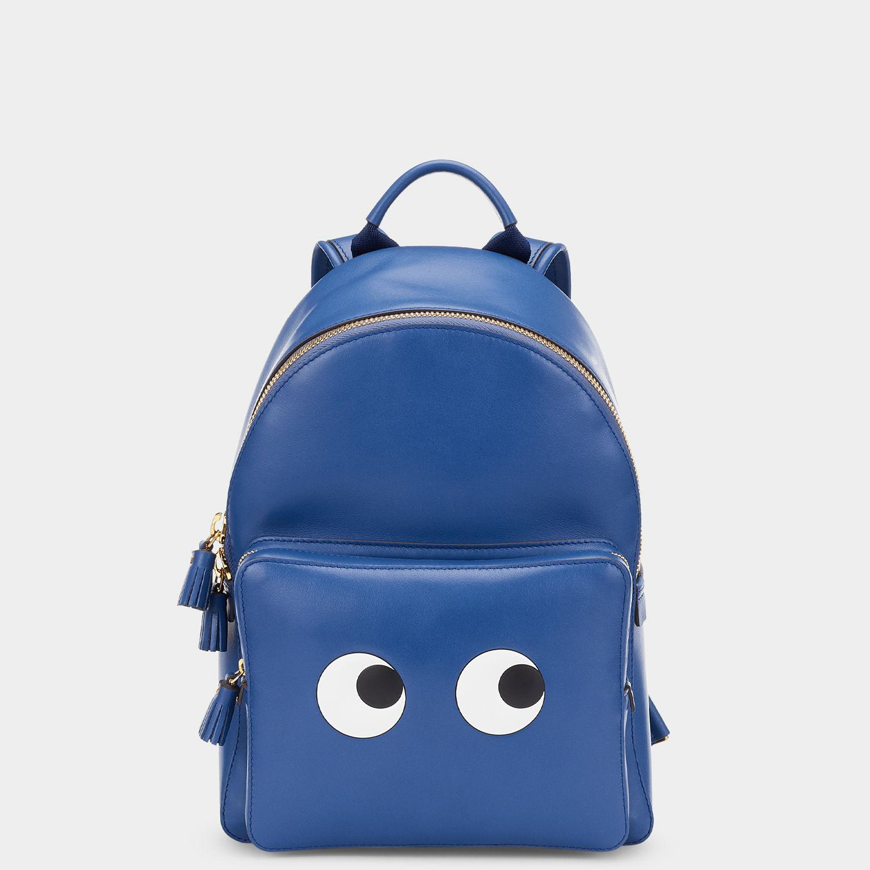 Anya Hindmarch Leather Mini Eyes Backpack in Blue