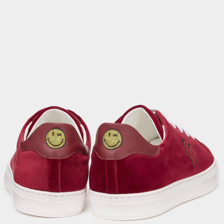 Anya Hindmarch Velvet Glitter Heart Sneakers in Oxblood (Red)