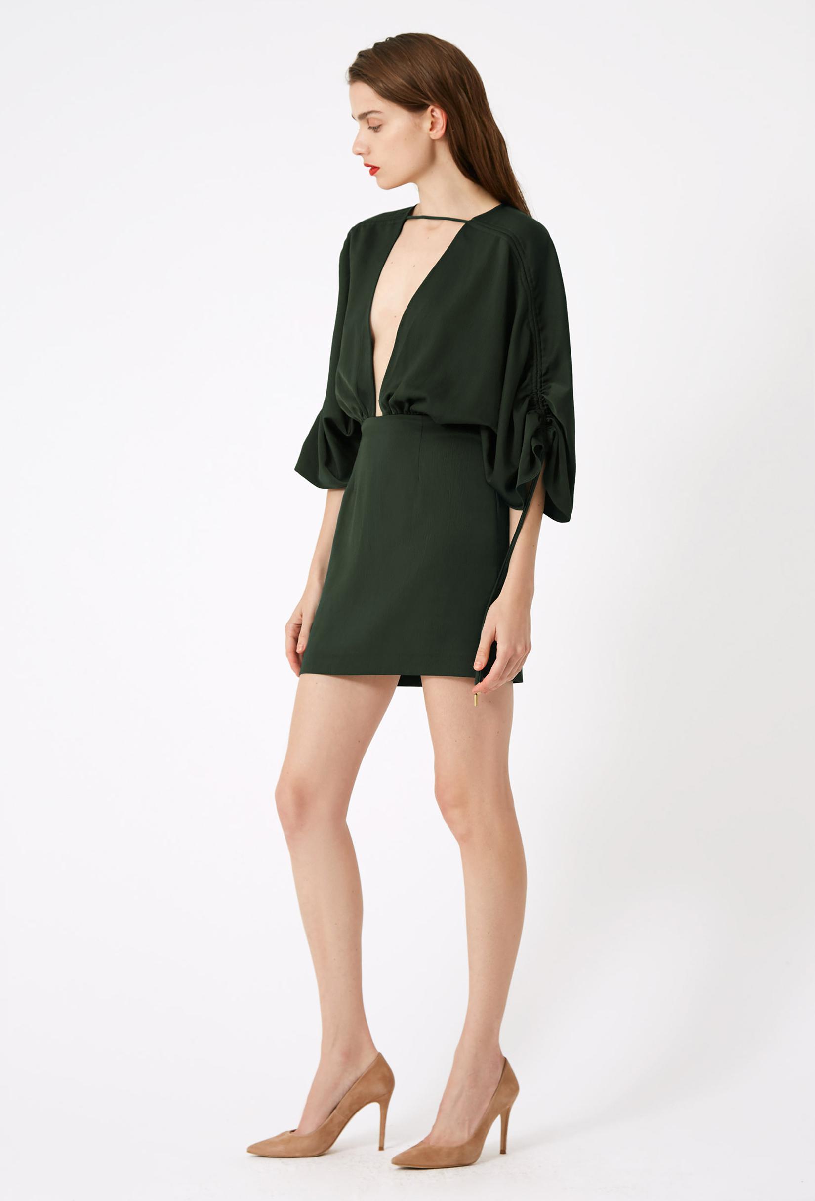 Lyst Aqaq Elise Deep Plunge Mini Dress In Green