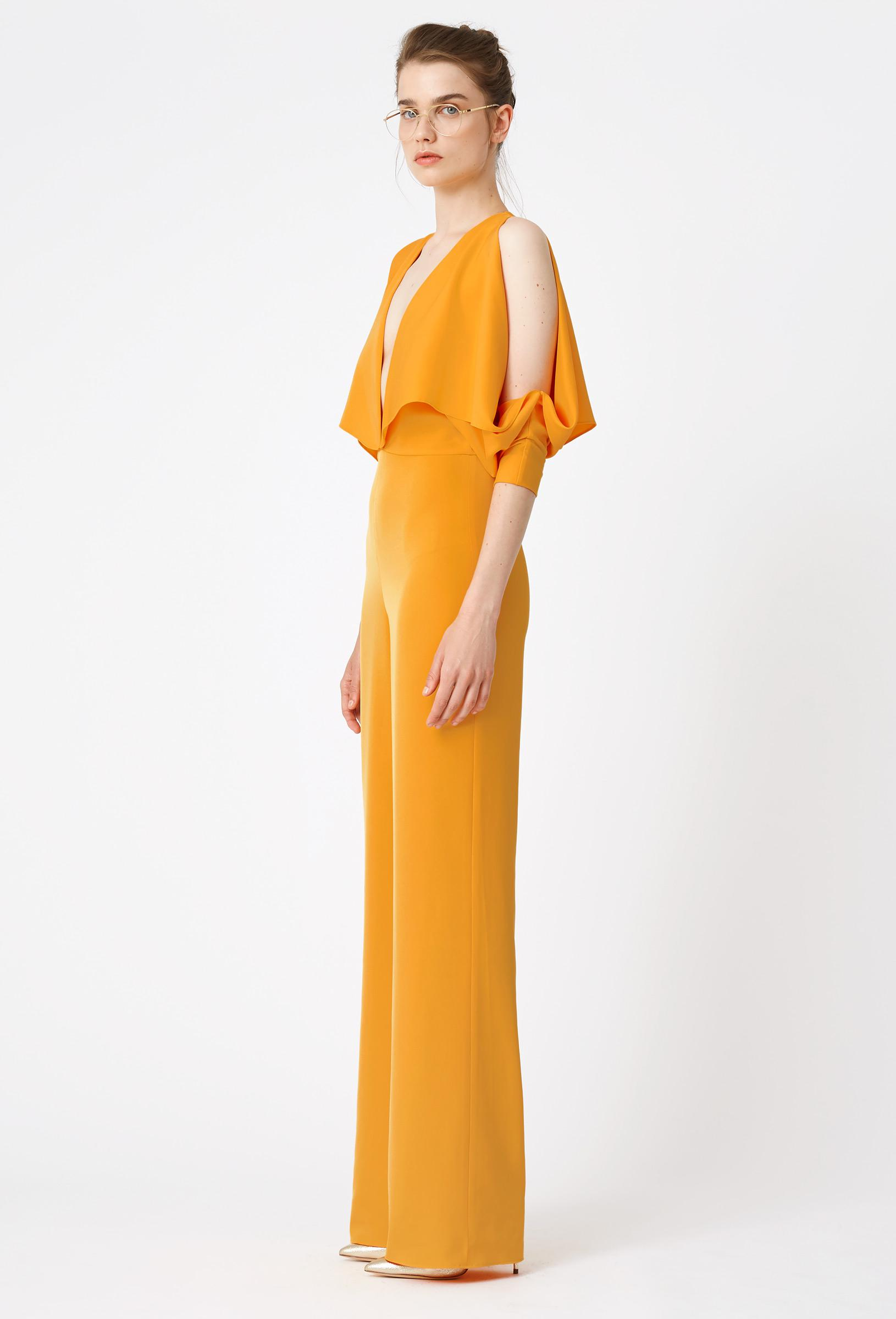 dd609b495bab Lyst - AQ AQ Larissa Deep Plunge Jumpsuit in Orange