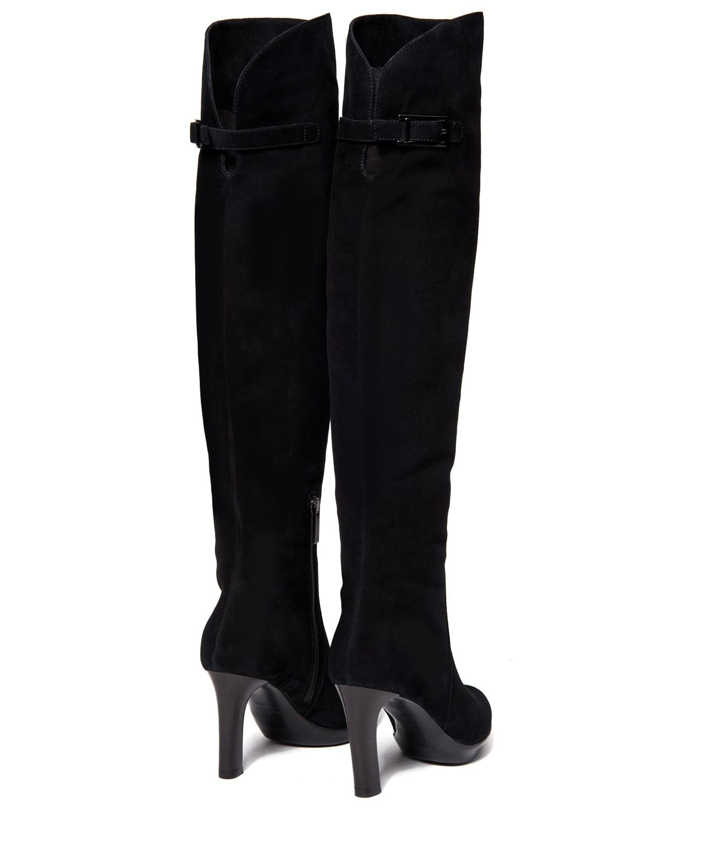 Aquatalia Raffaela Suede Over-The-Knee Boots in Black