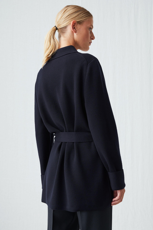Arket Wool Knitted Merino Jacket In Dark Blue Blue Lyst