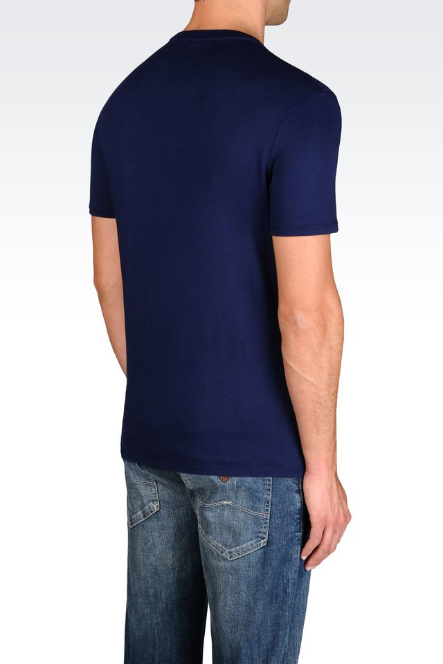 armani jeans print t shirt in blue for men lyst. Black Bedroom Furniture Sets. Home Design Ideas