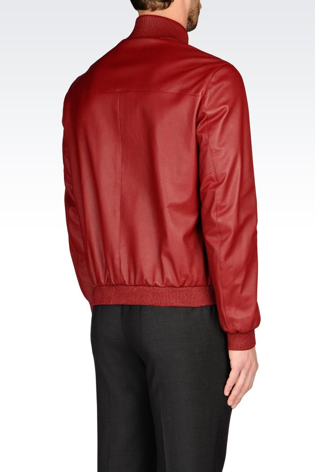 armani leather coat in red for men lyst