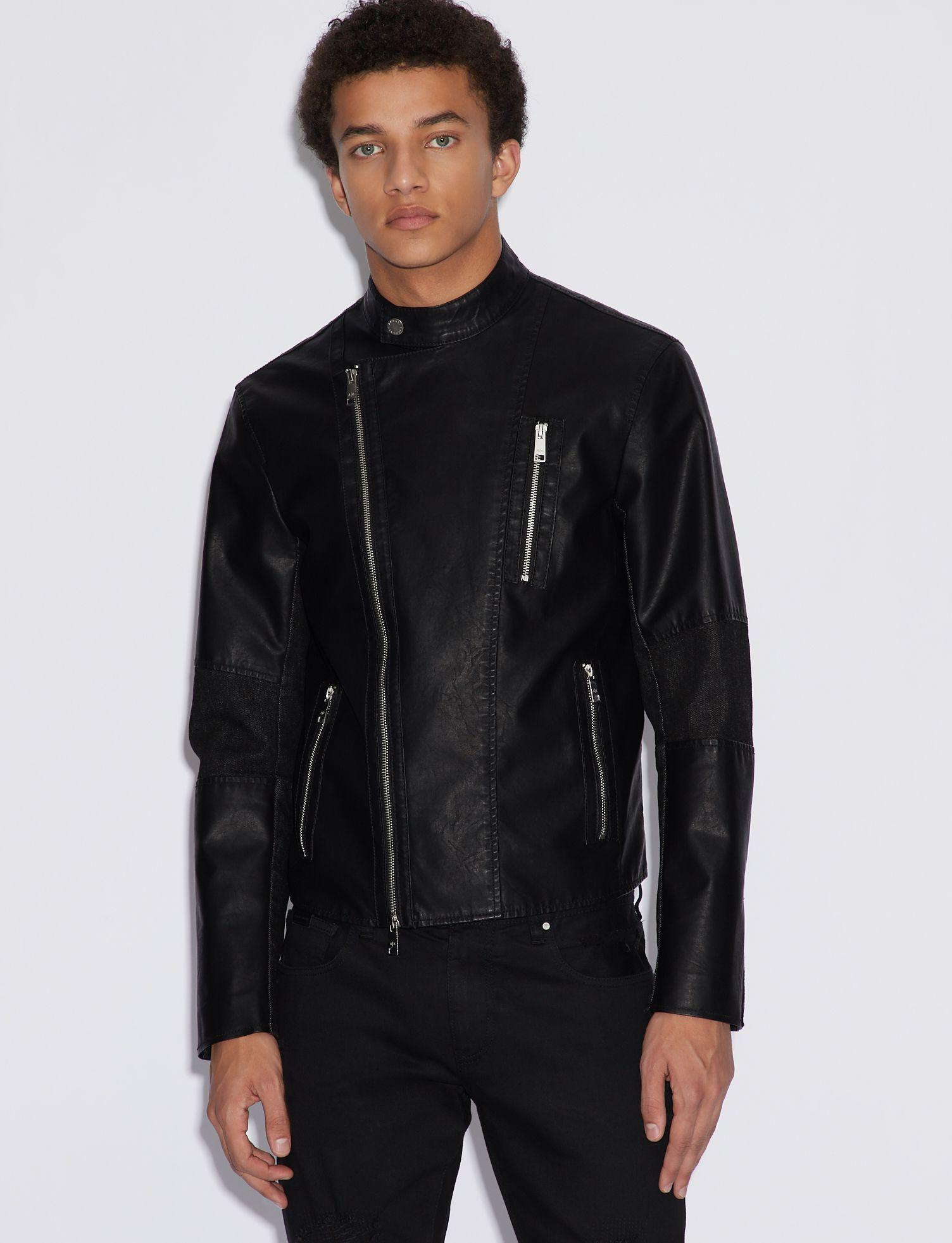 235d2ab86 Men's Black Faux Leather Biker Jacket