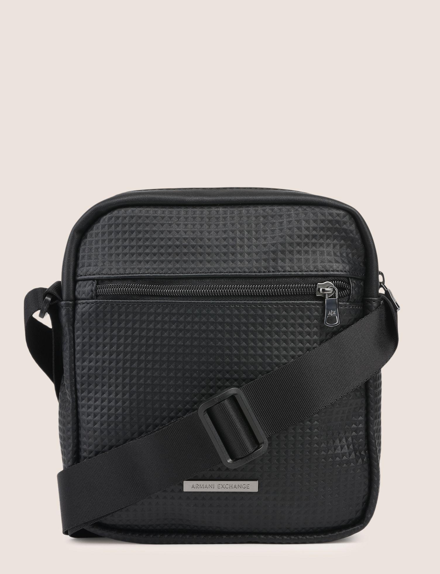 03d998589440 Armani Exchange - Black Embossed Logo Reporter Bag for Men - Lyst. View  fullscreen