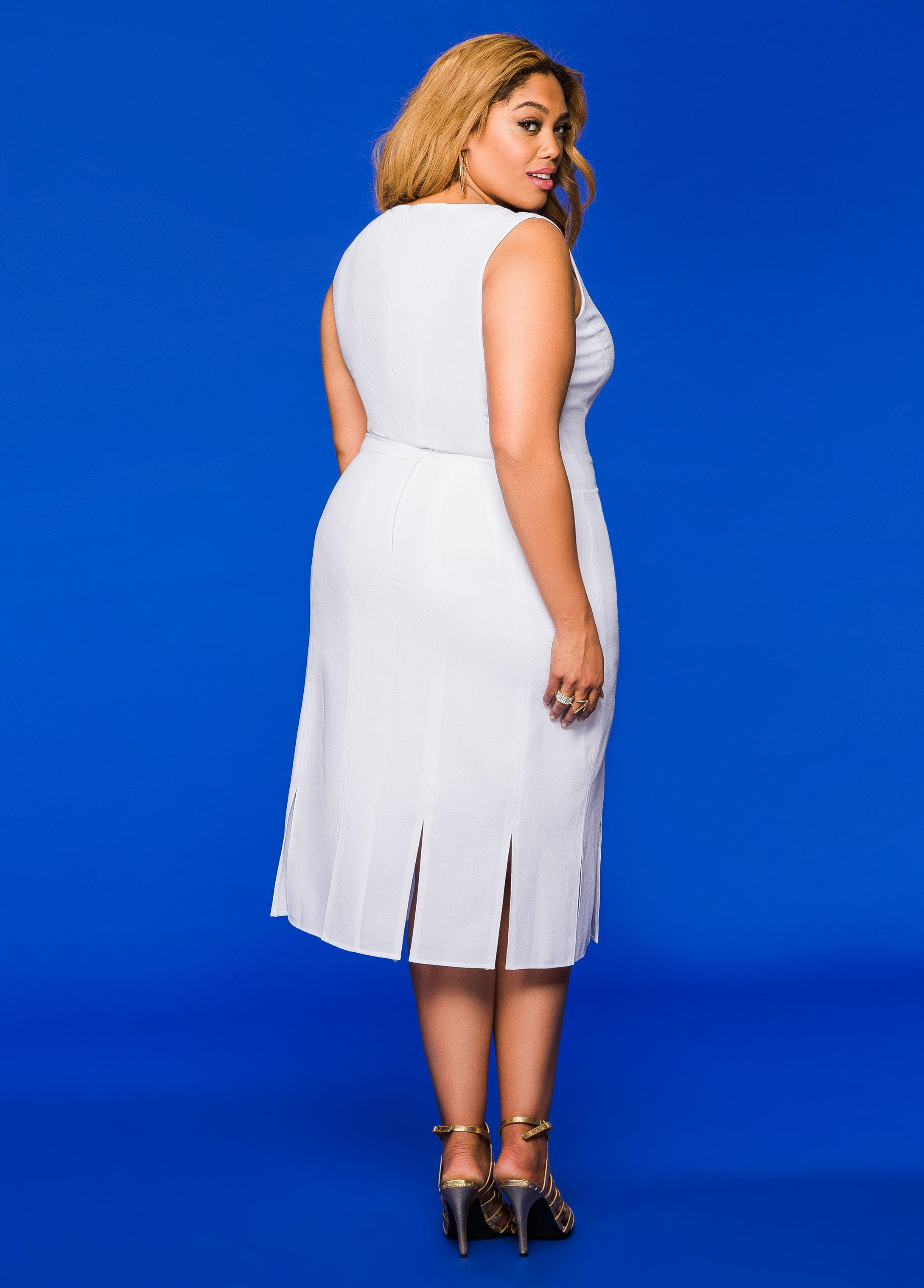 Ashley stewart carwash sheath dress in white lyst for Ashley stewart wedding dresses
