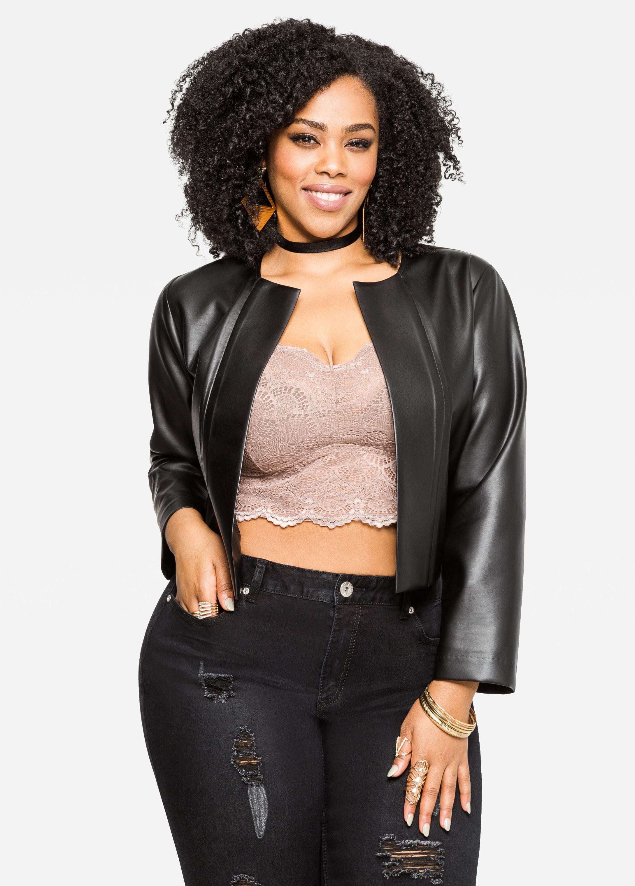 Ashley Stewart Cropped Faux Leather Jacket In Black Lyst
