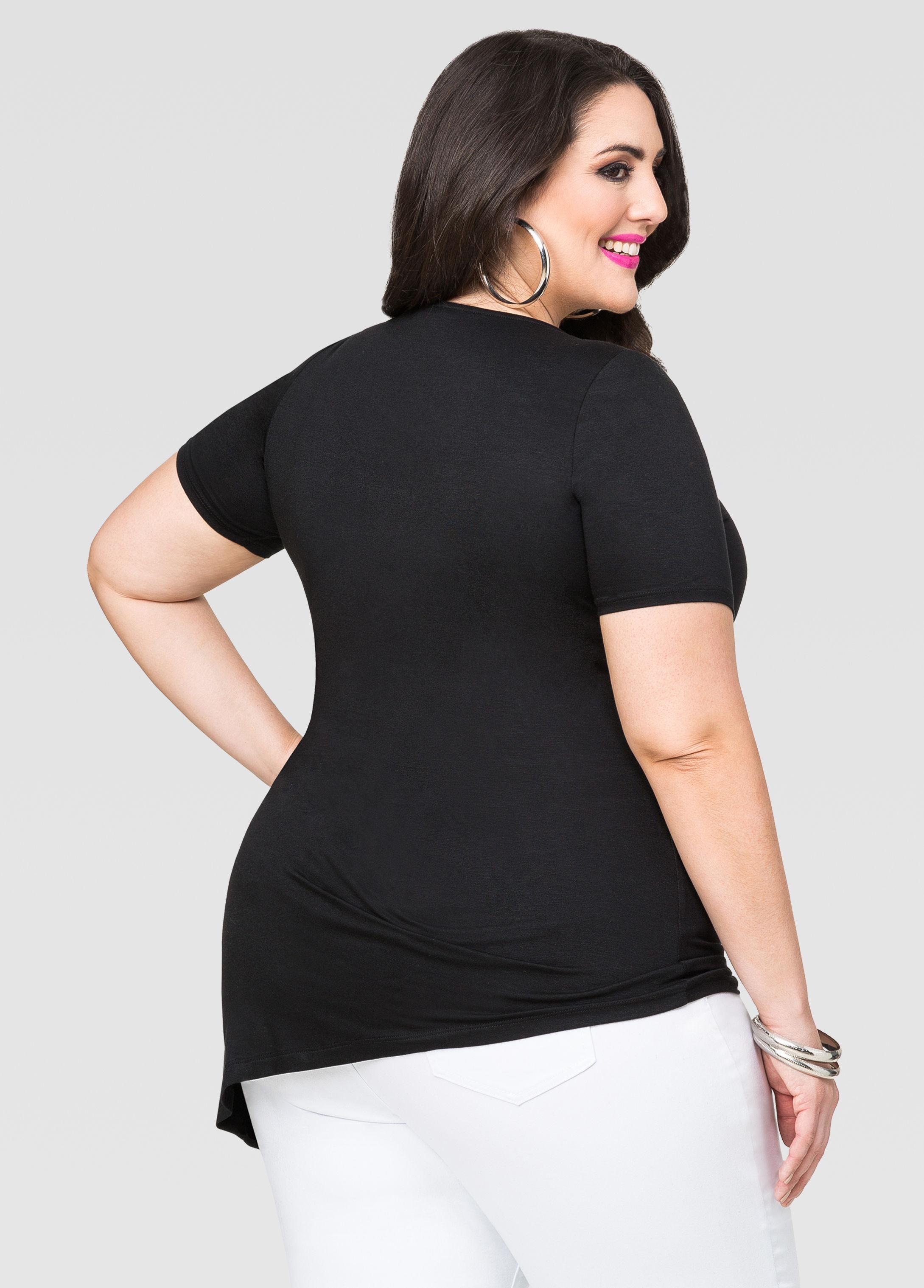 8b216b899e5 Lyst - Ashley Stewart Strappy Asymmetrical Tunic in Black
