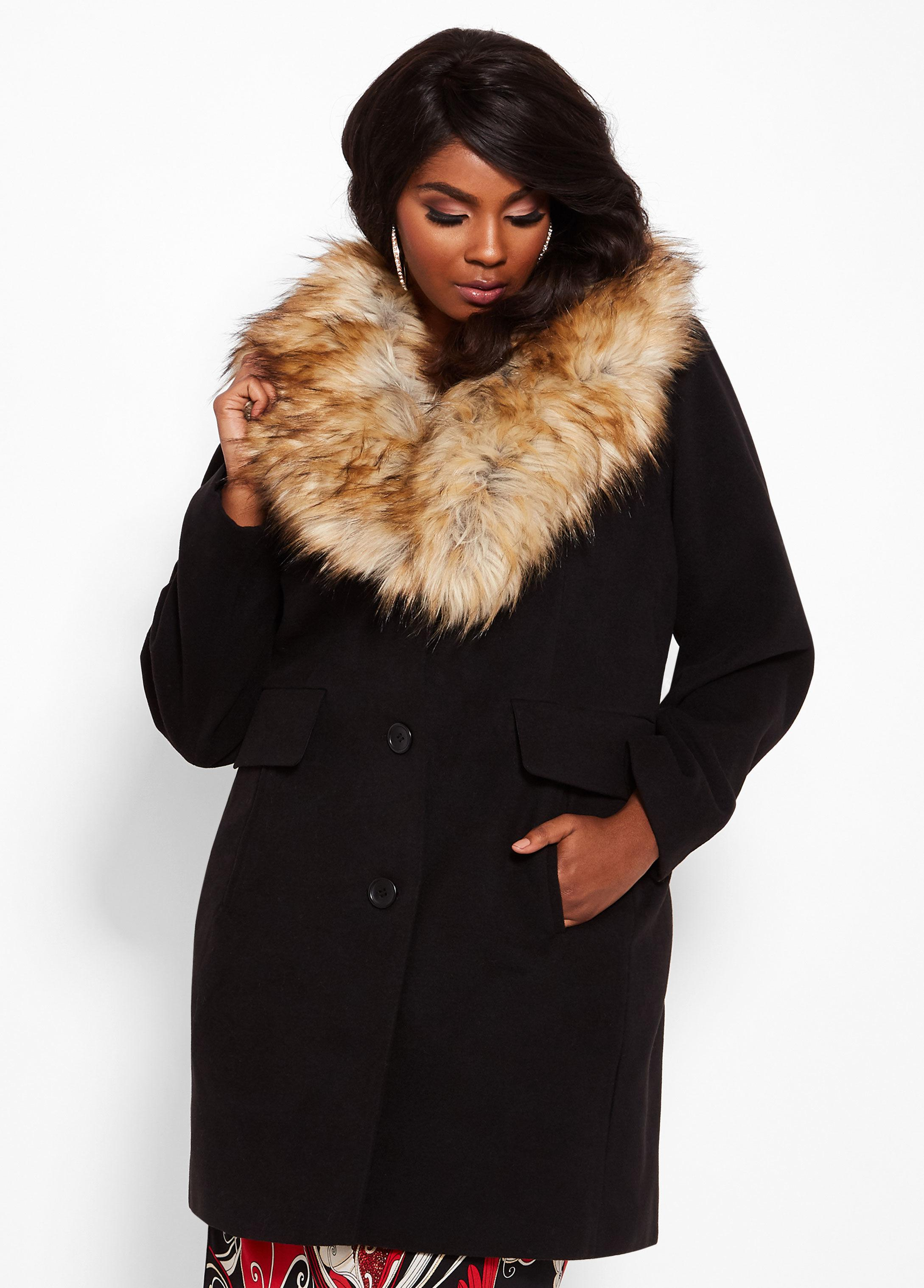 ffaecc93899 Lyst - Ashley Stewart Plus Size Faux Fur Collar Walker Coat in Black