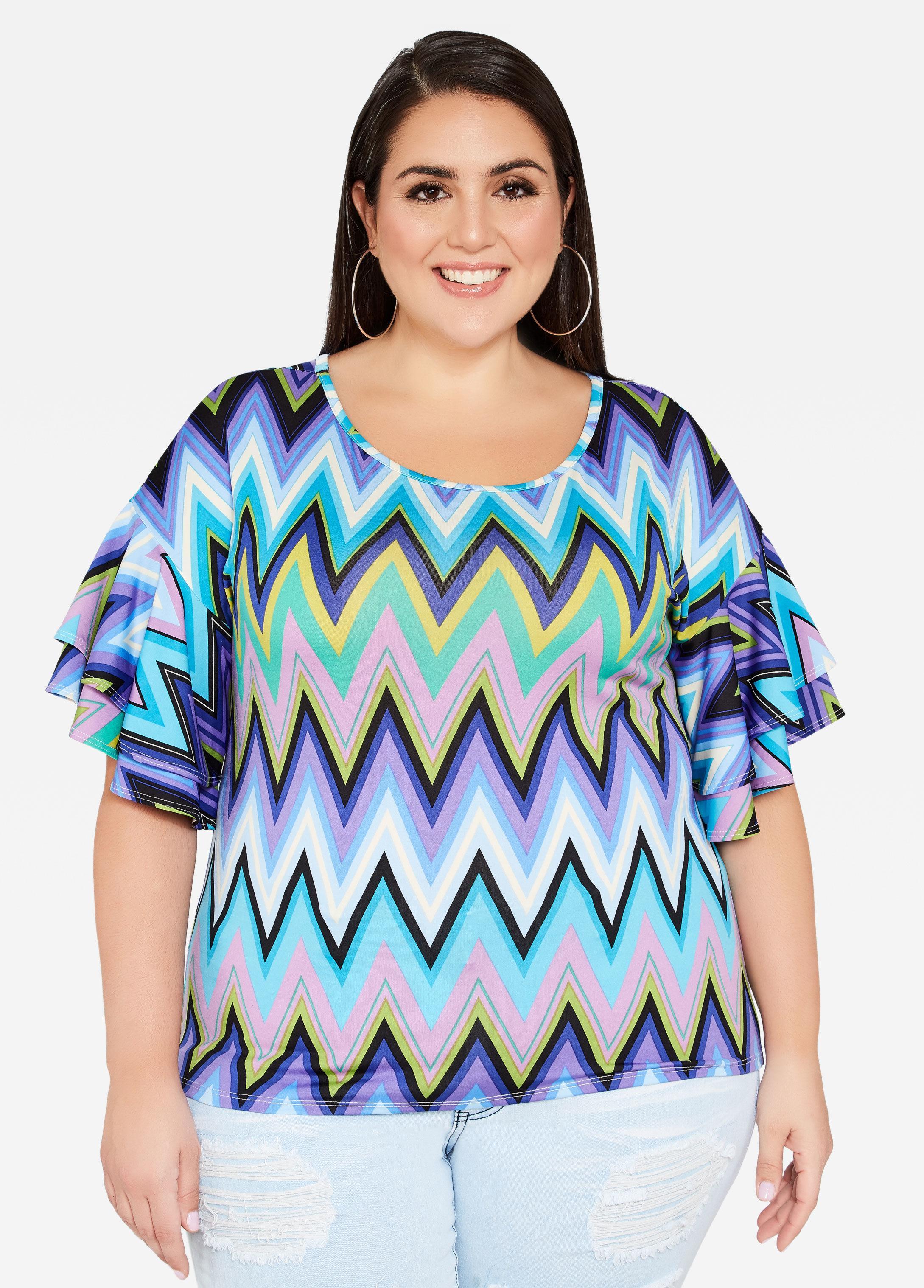 667b7c0887e Lyst - Ashley Stewart Plus Size Double Ruffle Sleeve Chevron Top in Blue