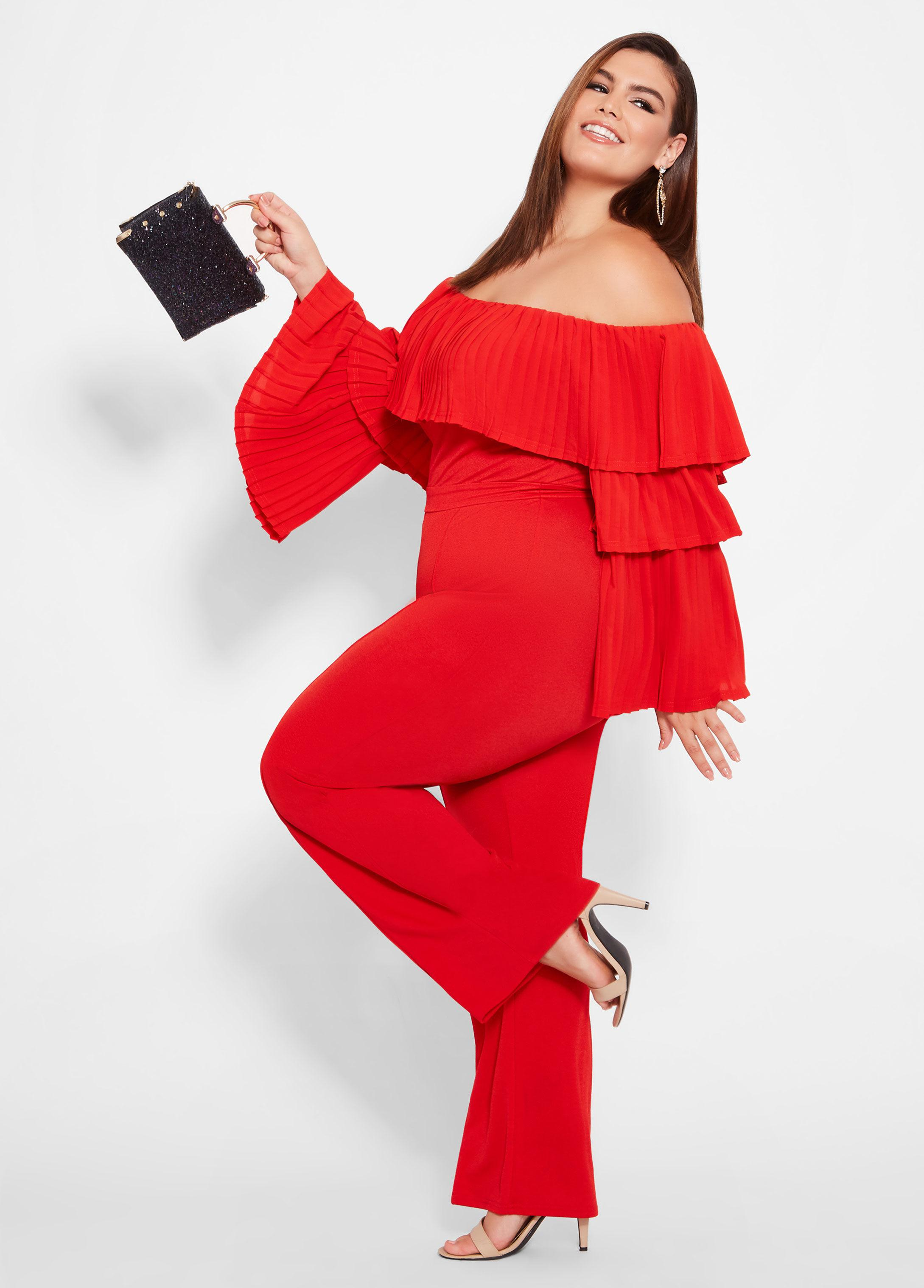 081ce12ca Ashley Stewart Plus Size Tiered Off The Shoulder Jumpsuit in Red - Lyst