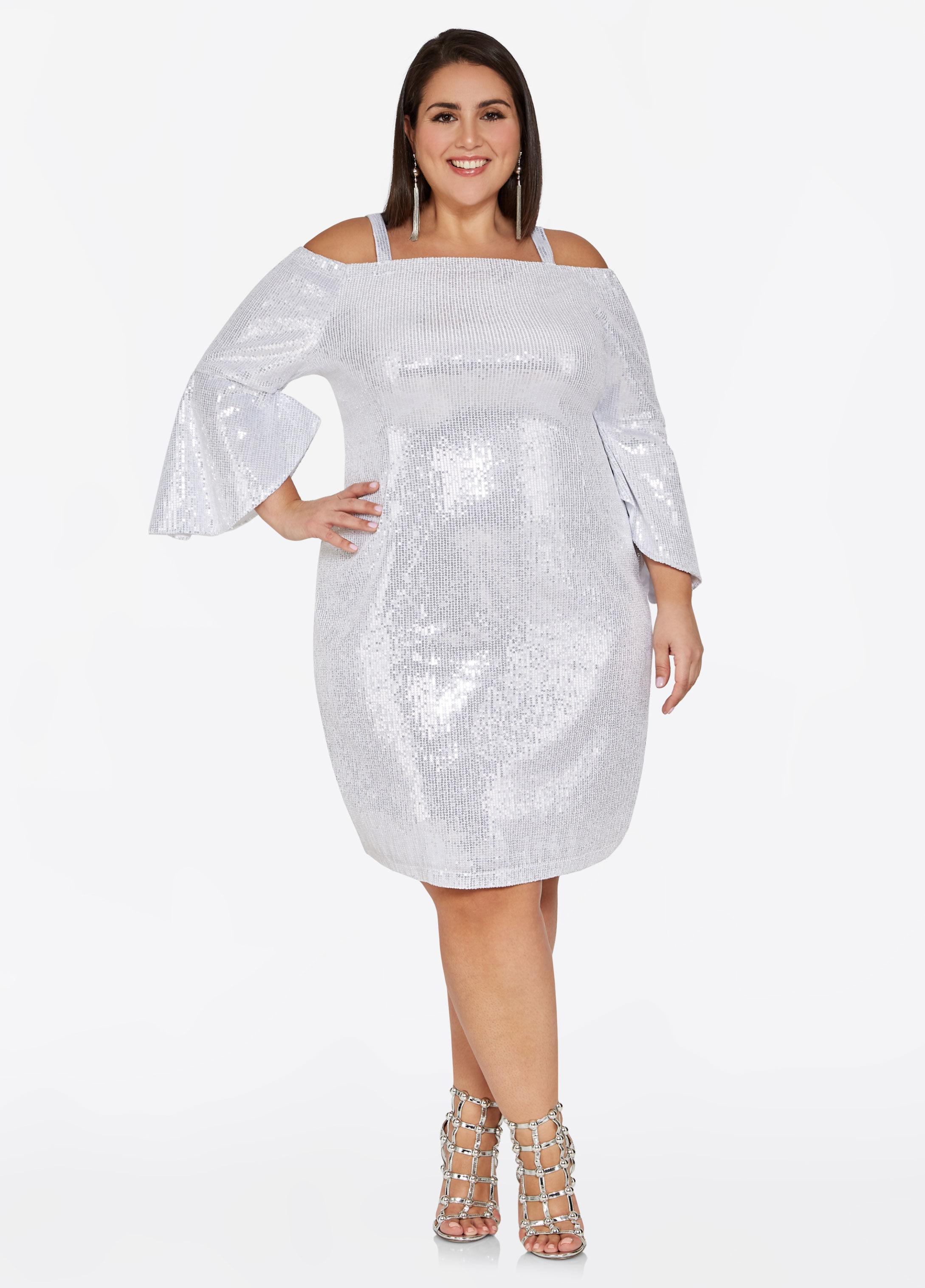 Plus Size Silver Sequin Bell Sleeve Dress