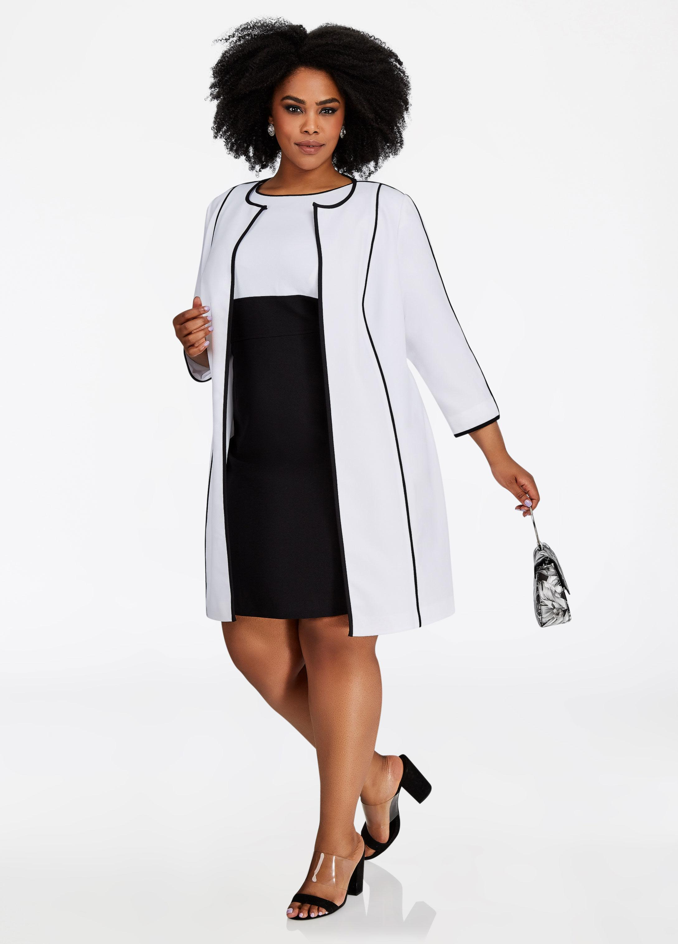 Plus Size Two Piece Jacket Dress Set