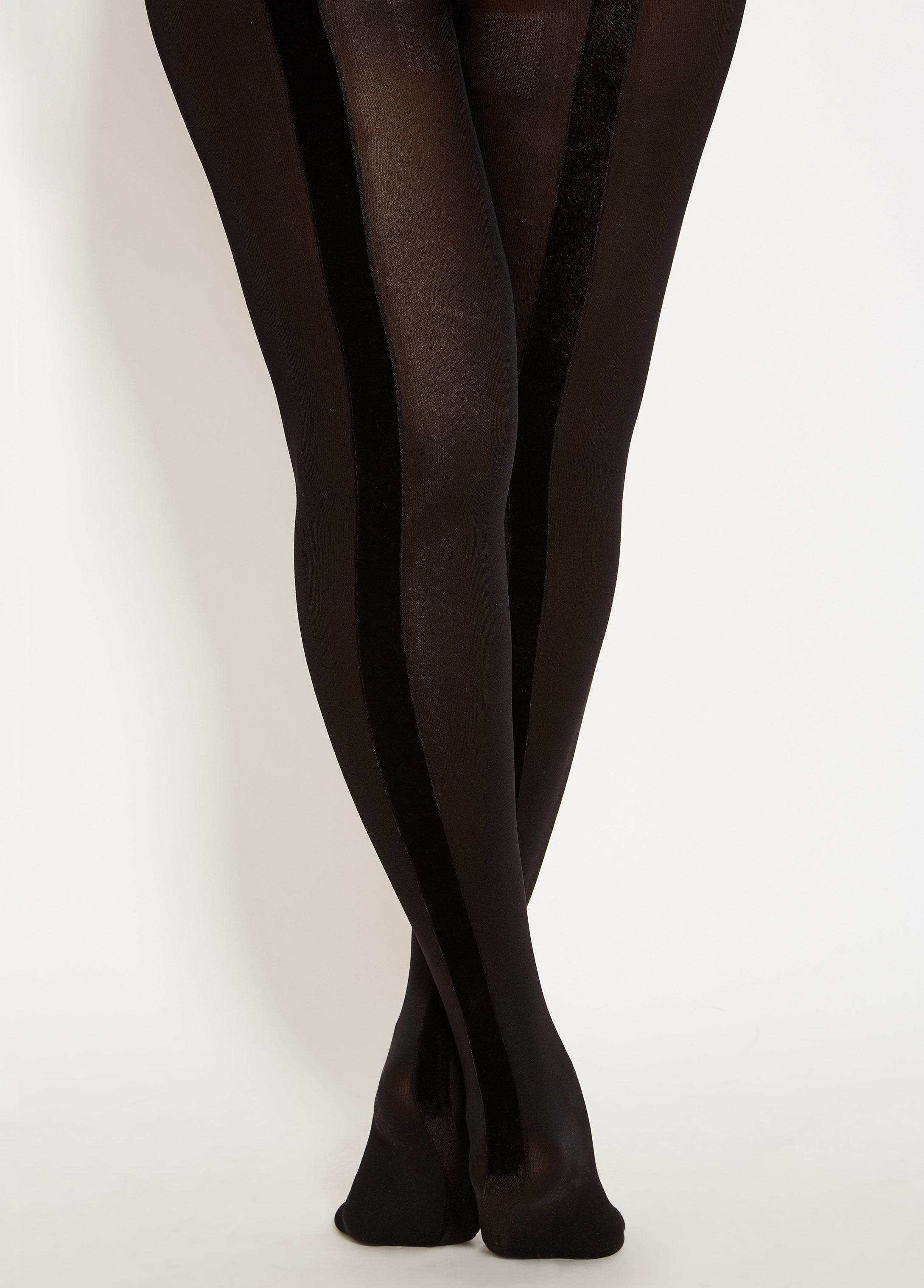 3417786929f Lyst - Ashley Stewart Plus Size Tuxedo Stripe Opaque Tight in Black