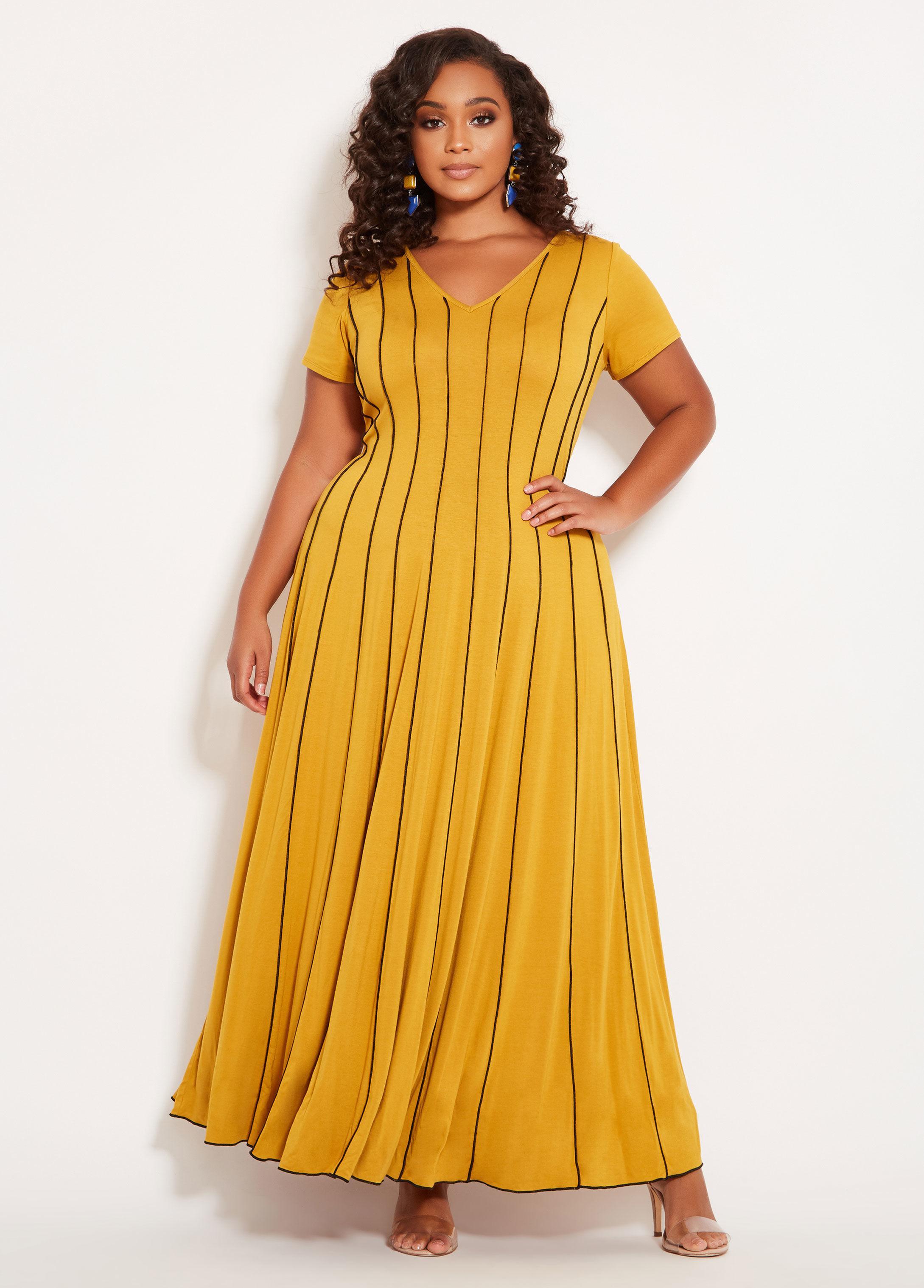 Plus Size Cap Sleeve Contrast Maxi Dress