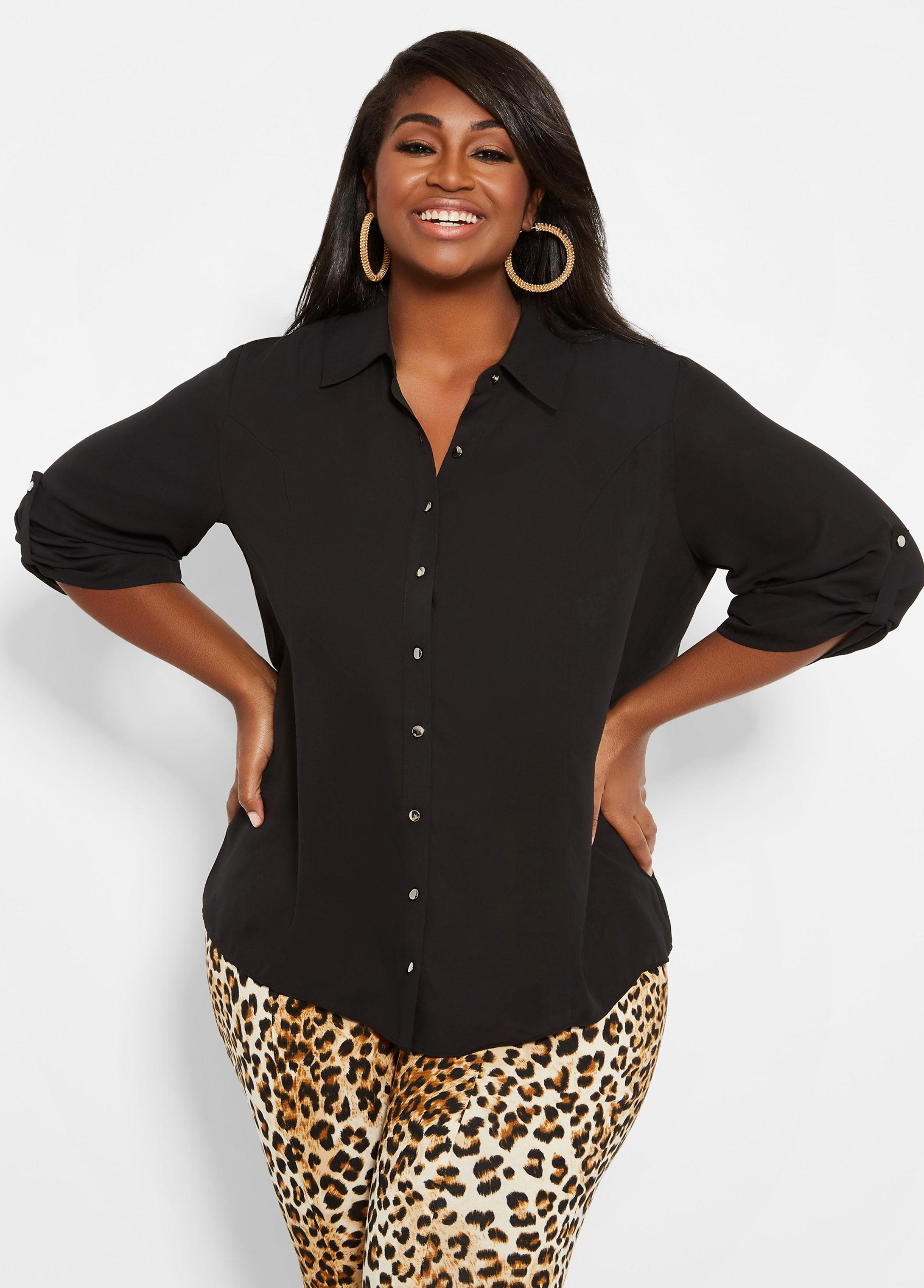 85c6bdc373953 Lyst - Ashley Stewart Plus Size Tall Button Front Top With Tab ...