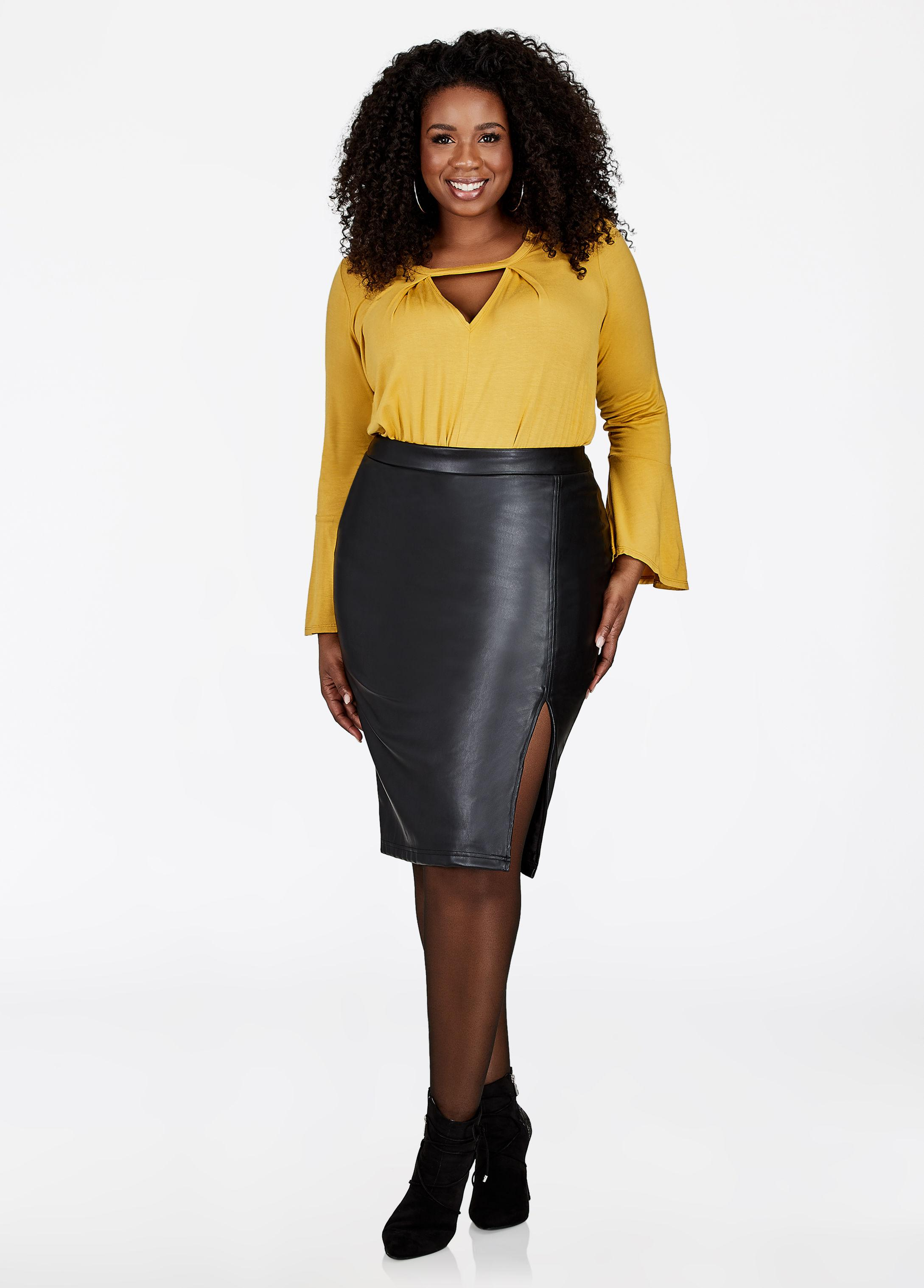 Ashley Stewart Front Slit Faux Leather Pencil Skirt In