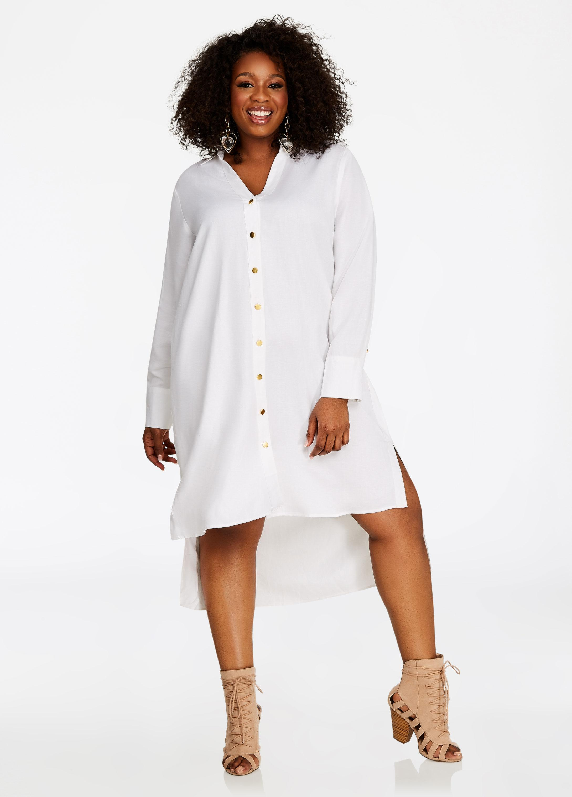 9a19da64cb Lyst - Ashley Stewart Hi Lo Linen Shirt Dress in White